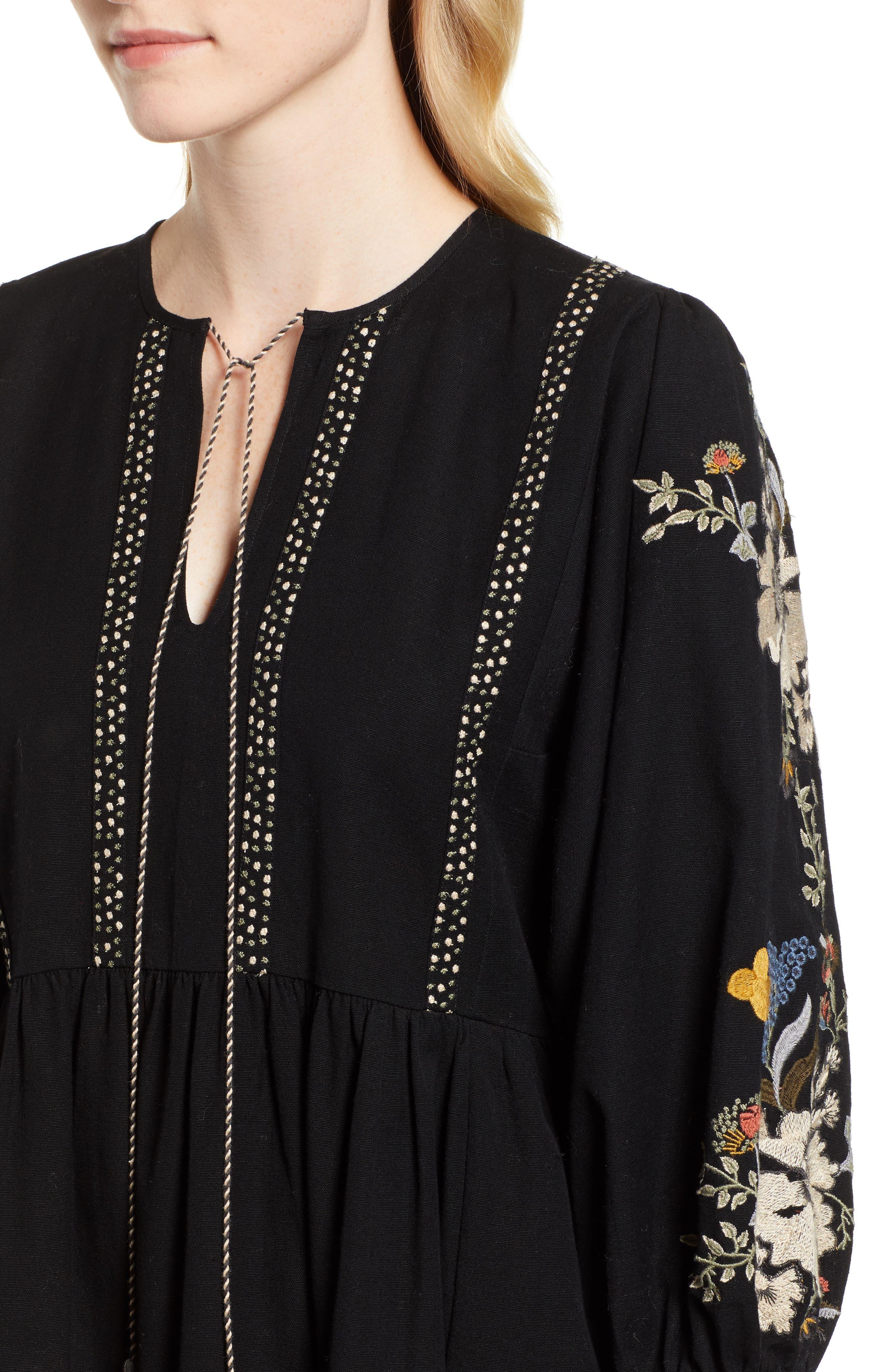 Embroidered Peasant Dress,                             Alternate thumbnail 4, color,                             BLACK