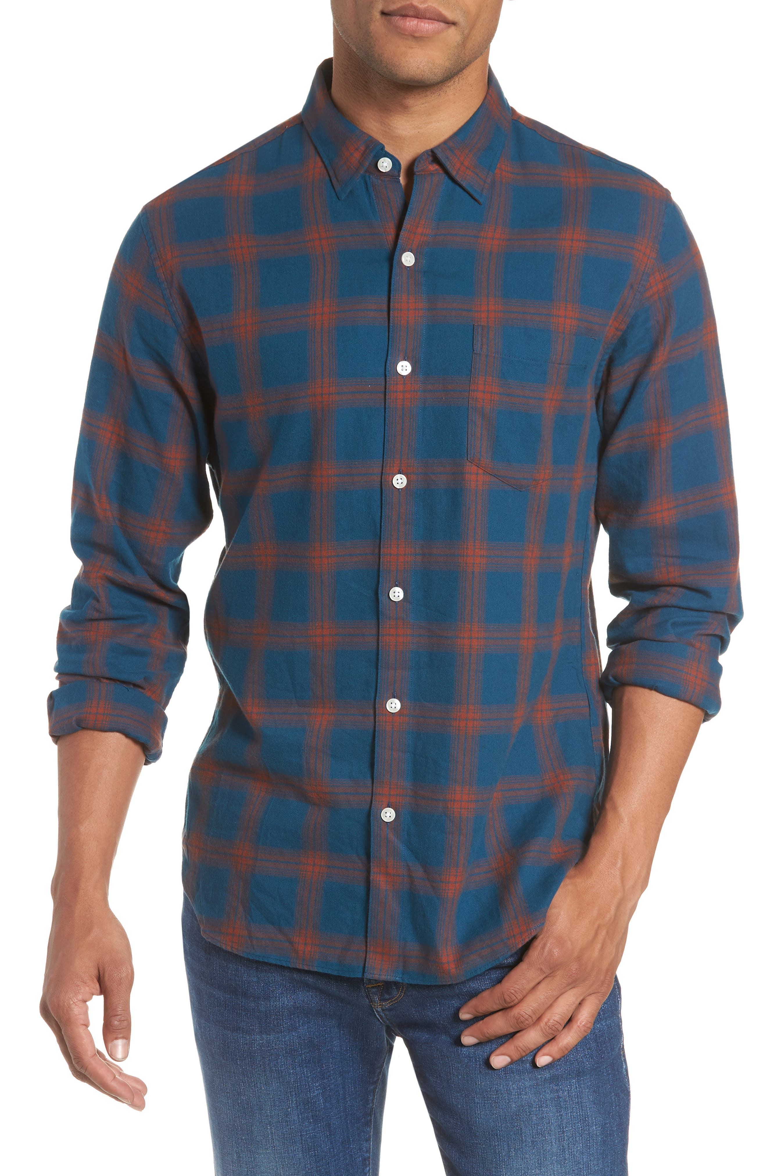 Slim Fit Check Brushed Twill Sport Shirt,                             Main thumbnail 1, color,                             CHECK TEAL