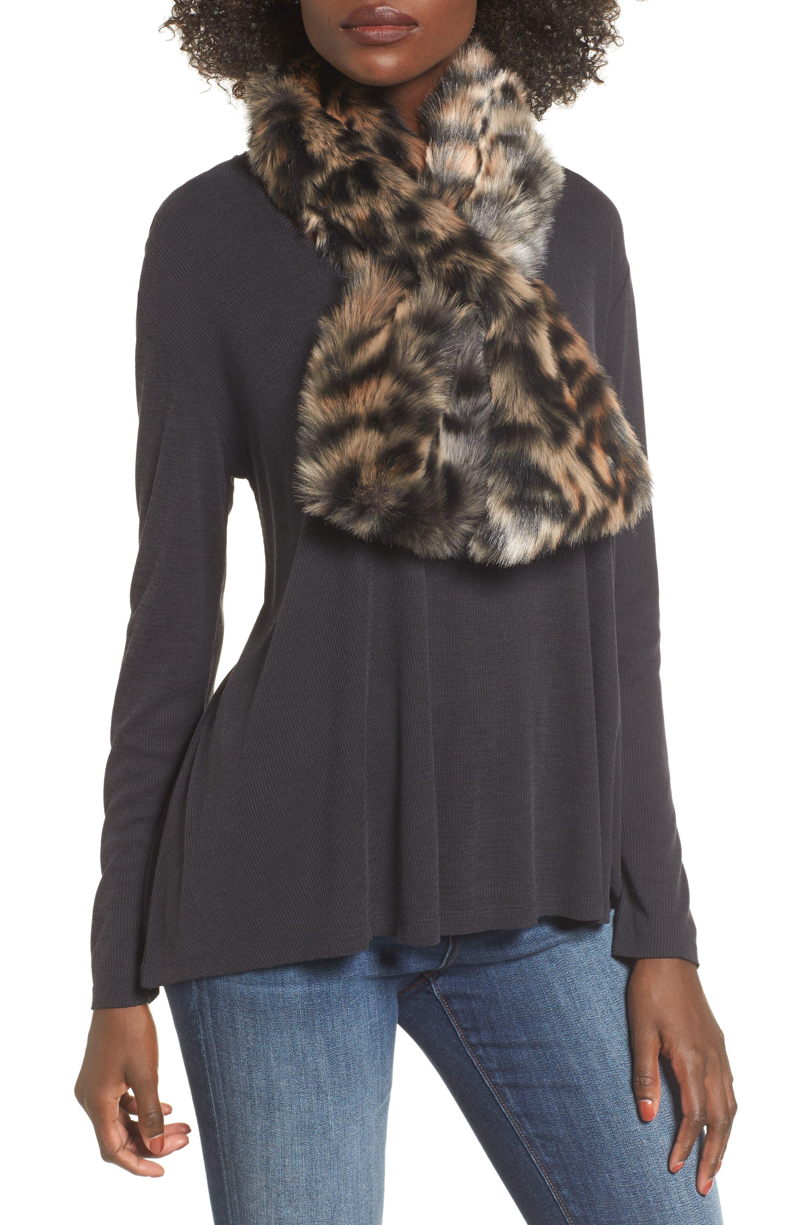 Leopard Faux Fur Stole,                         Main,                         color, BROWN COMBO