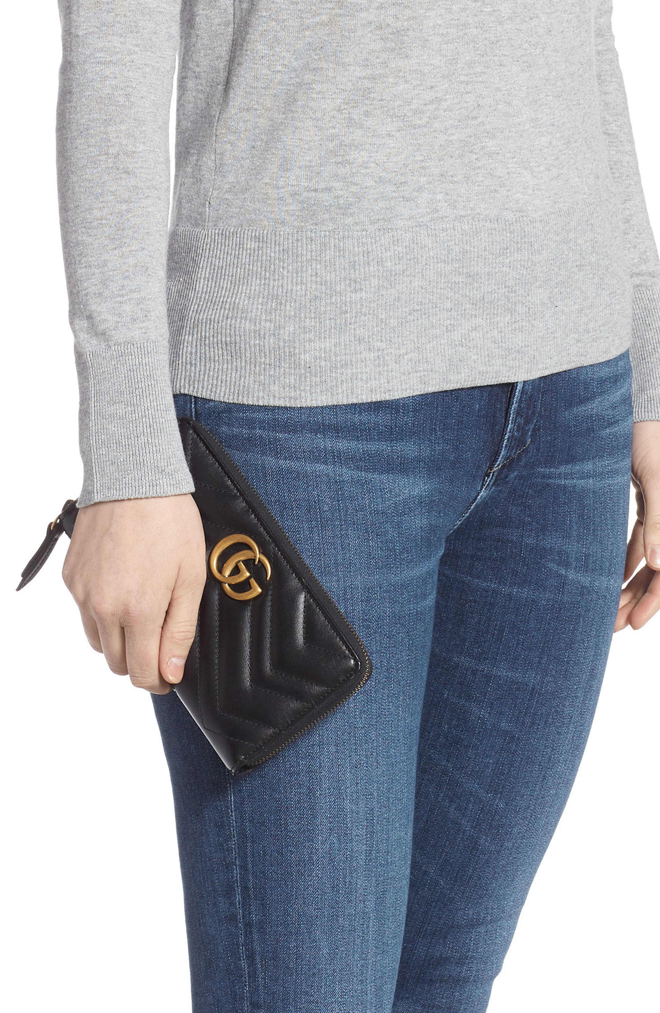 GUCCI,                             GG Marmont 2.0 Zip Around Wallet,                             Alternate thumbnail 2, color,                             NERO