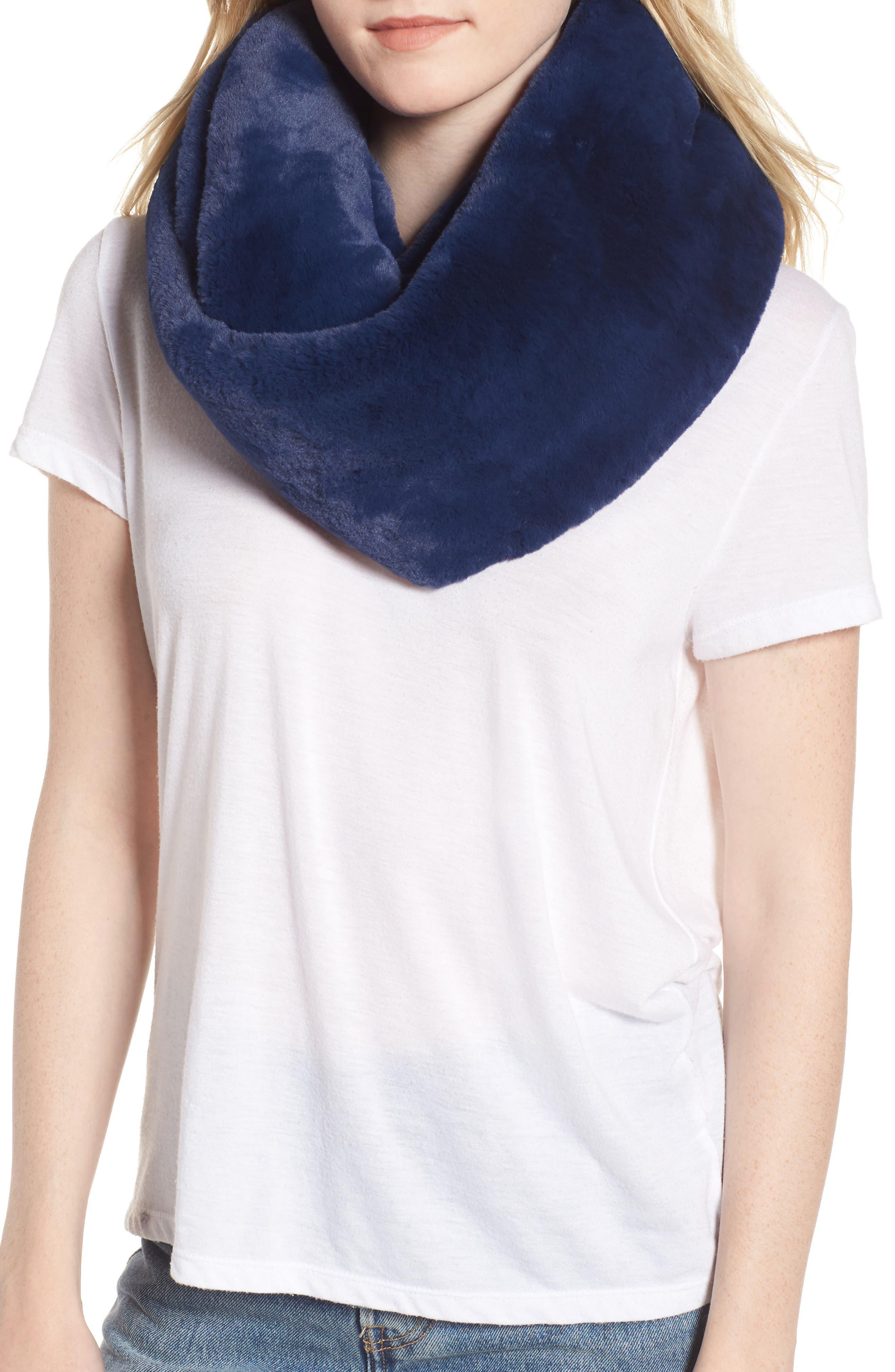 Faux Fur Infinity Scarf,                         Main,                         color, BLUE