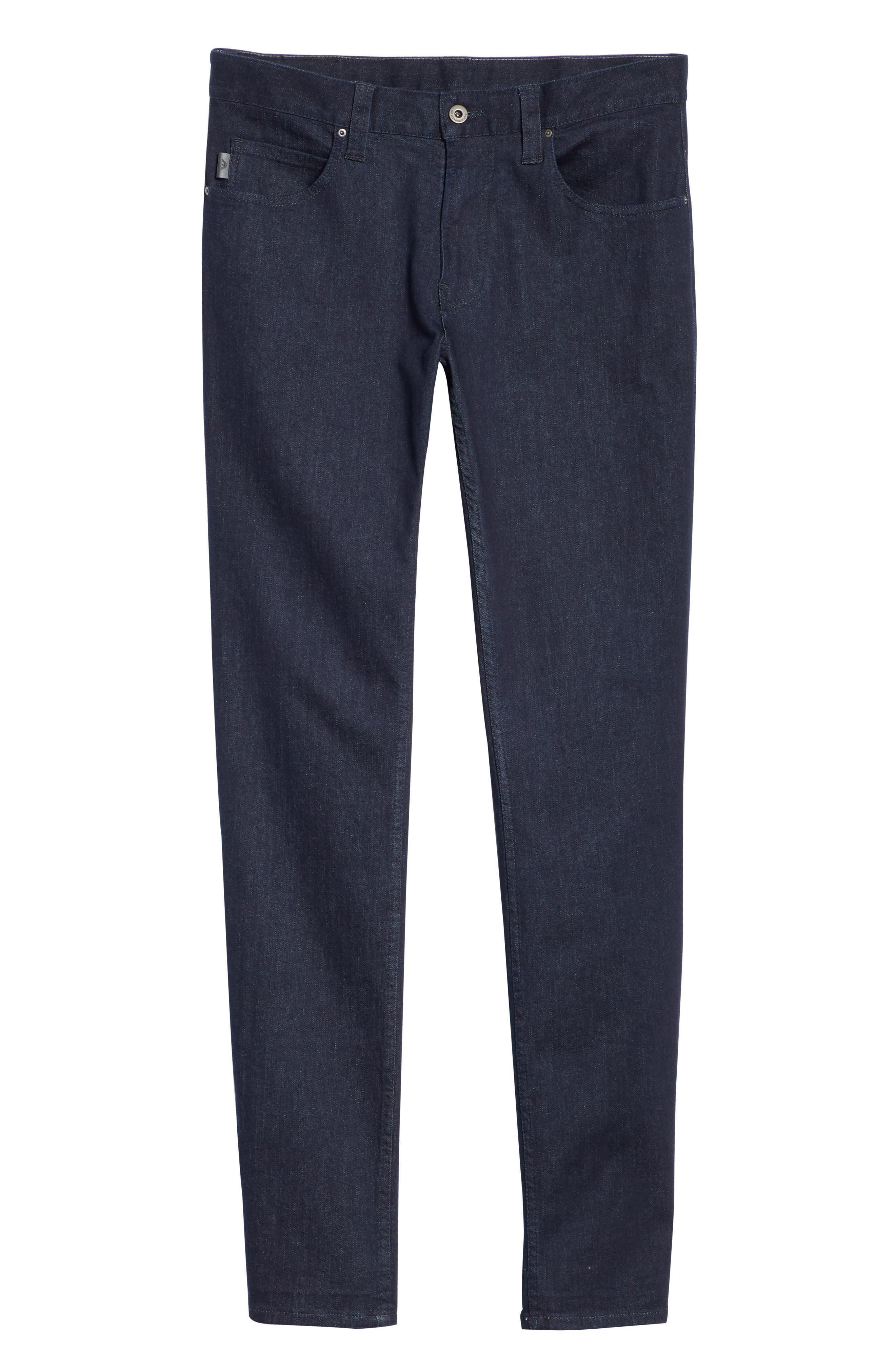 Straight Leg Stretch Jeans,                             Alternate thumbnail 6, color,                             DARK BLUE