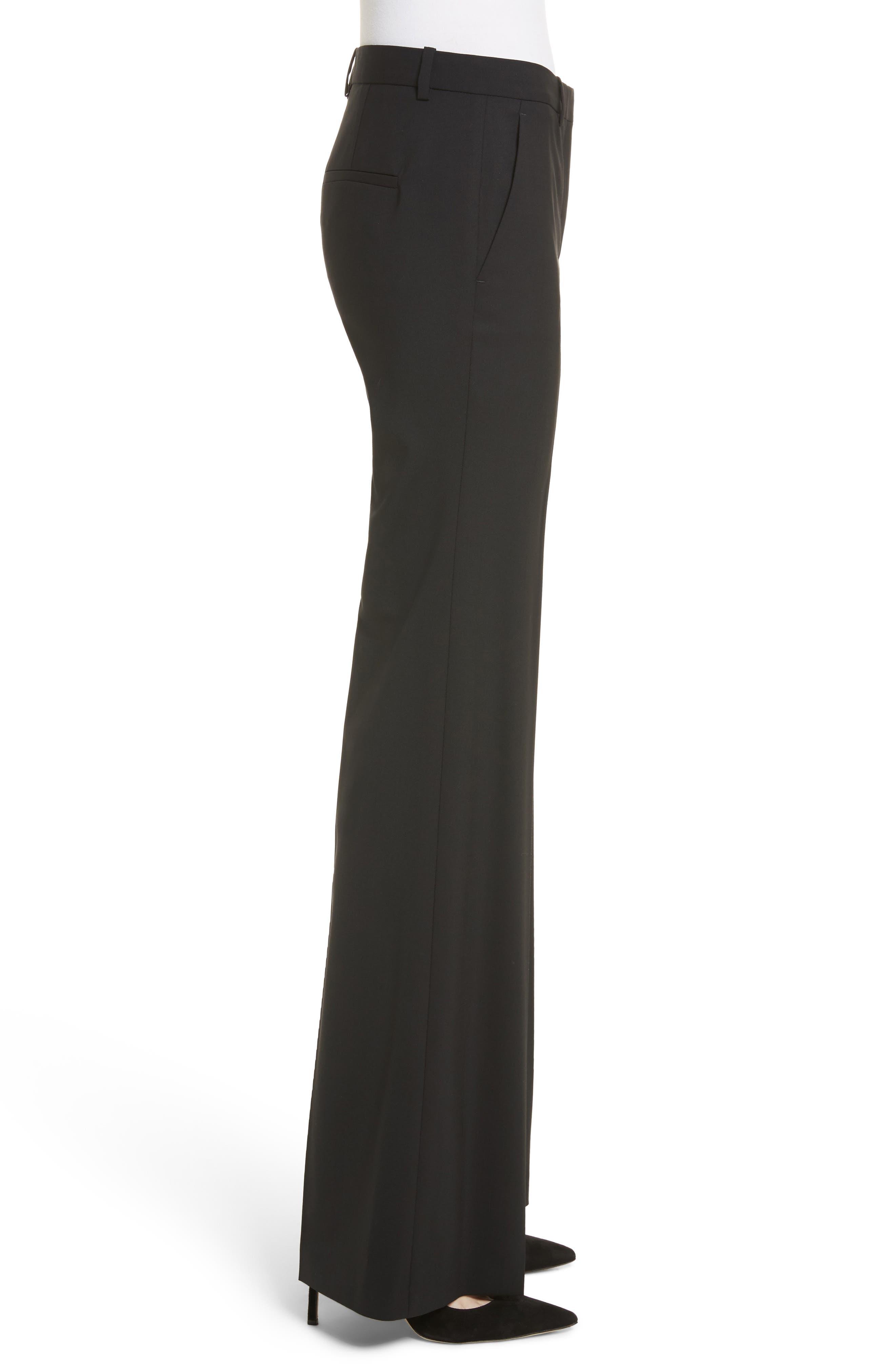 Demetria 2 Flare Leg Good Wool Suit Pants,                             Alternate thumbnail 3, color,                             BLACK