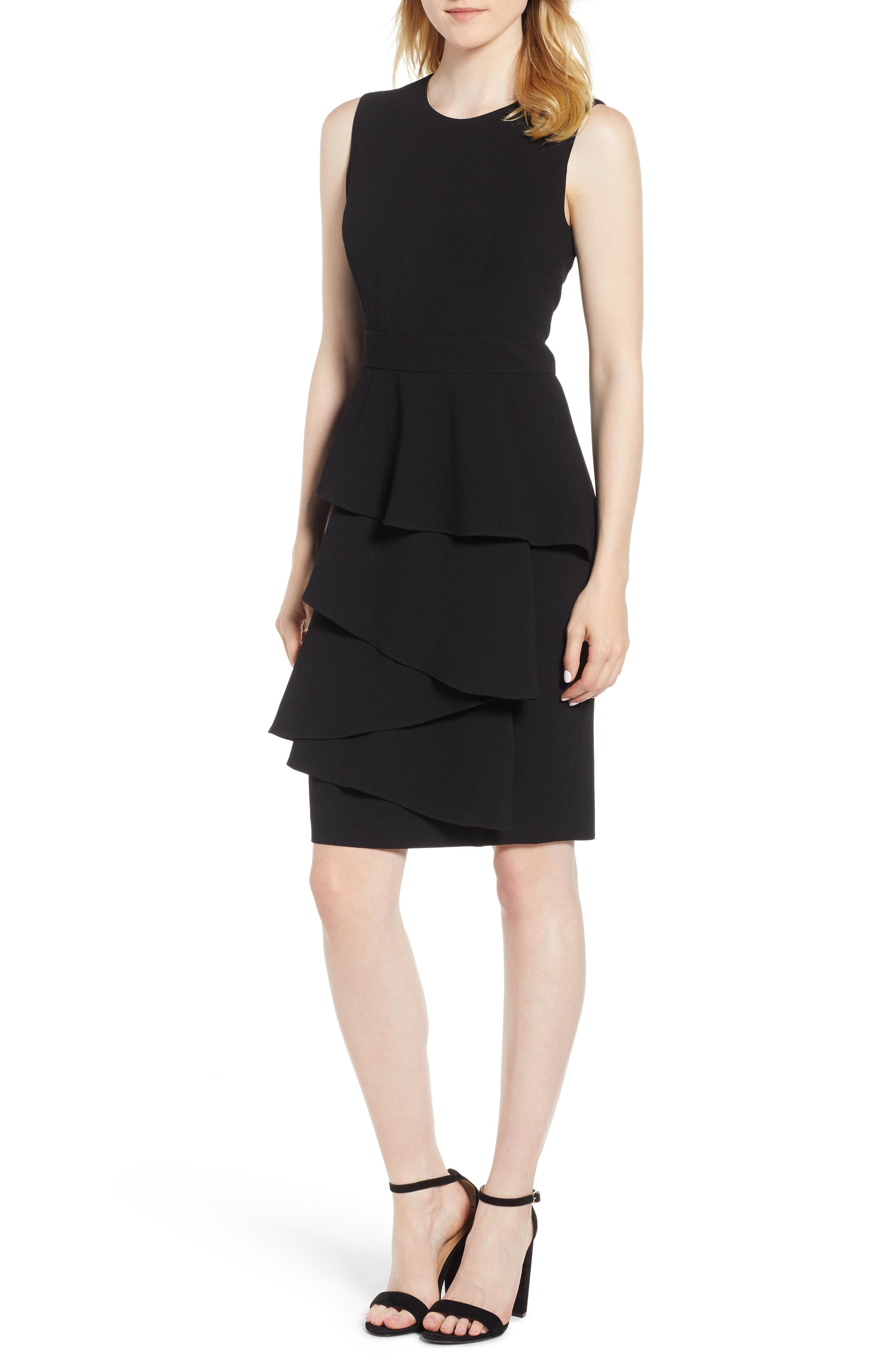 Ruffle Front Dress,                         Main,                         color, BLACK