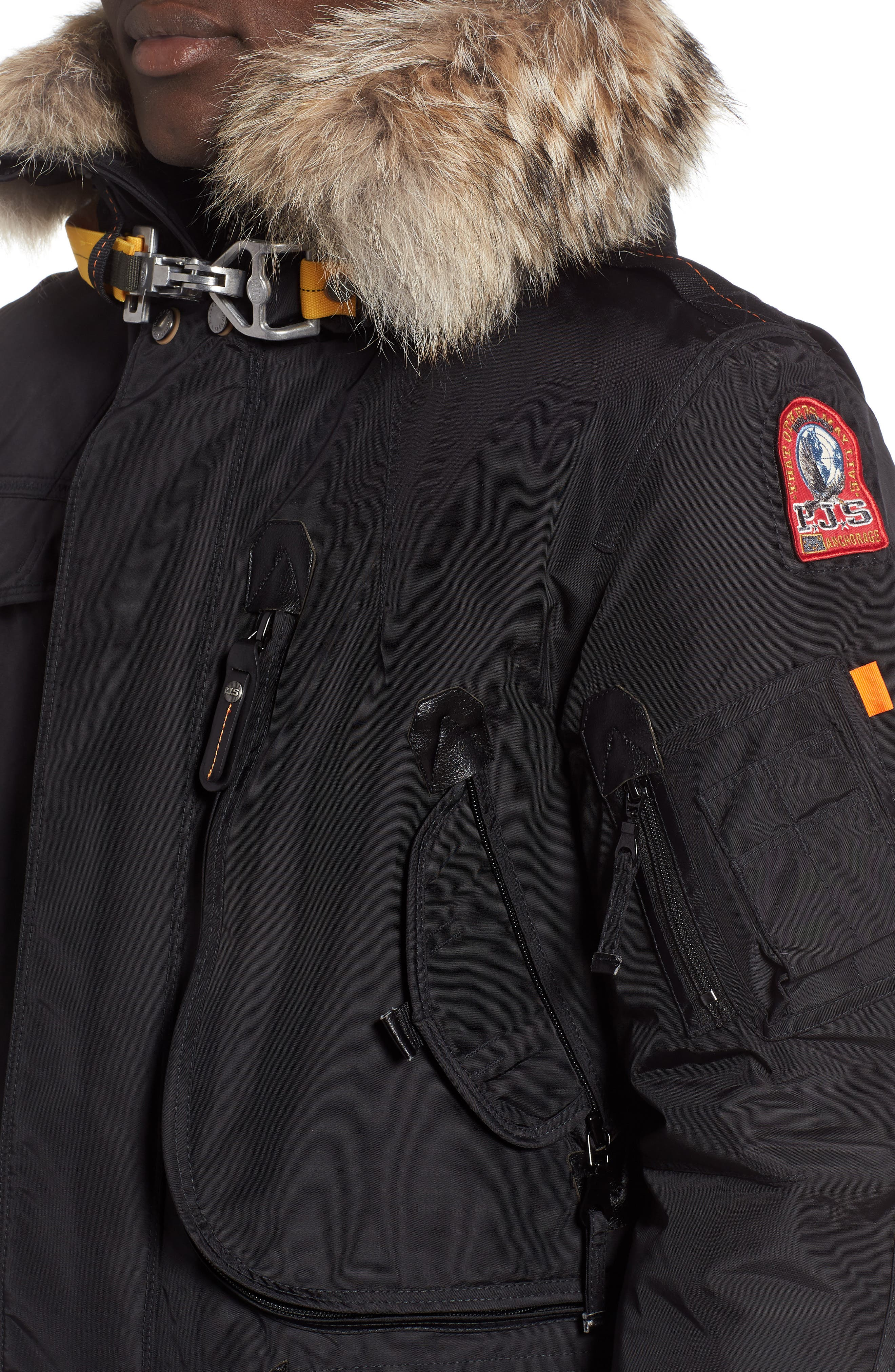 Right Hand Light 700 Fill Waterproof Power Down Jacket with Genuine Coyote Fur Trim,                             Alternate thumbnail 4, color,                             BLACK