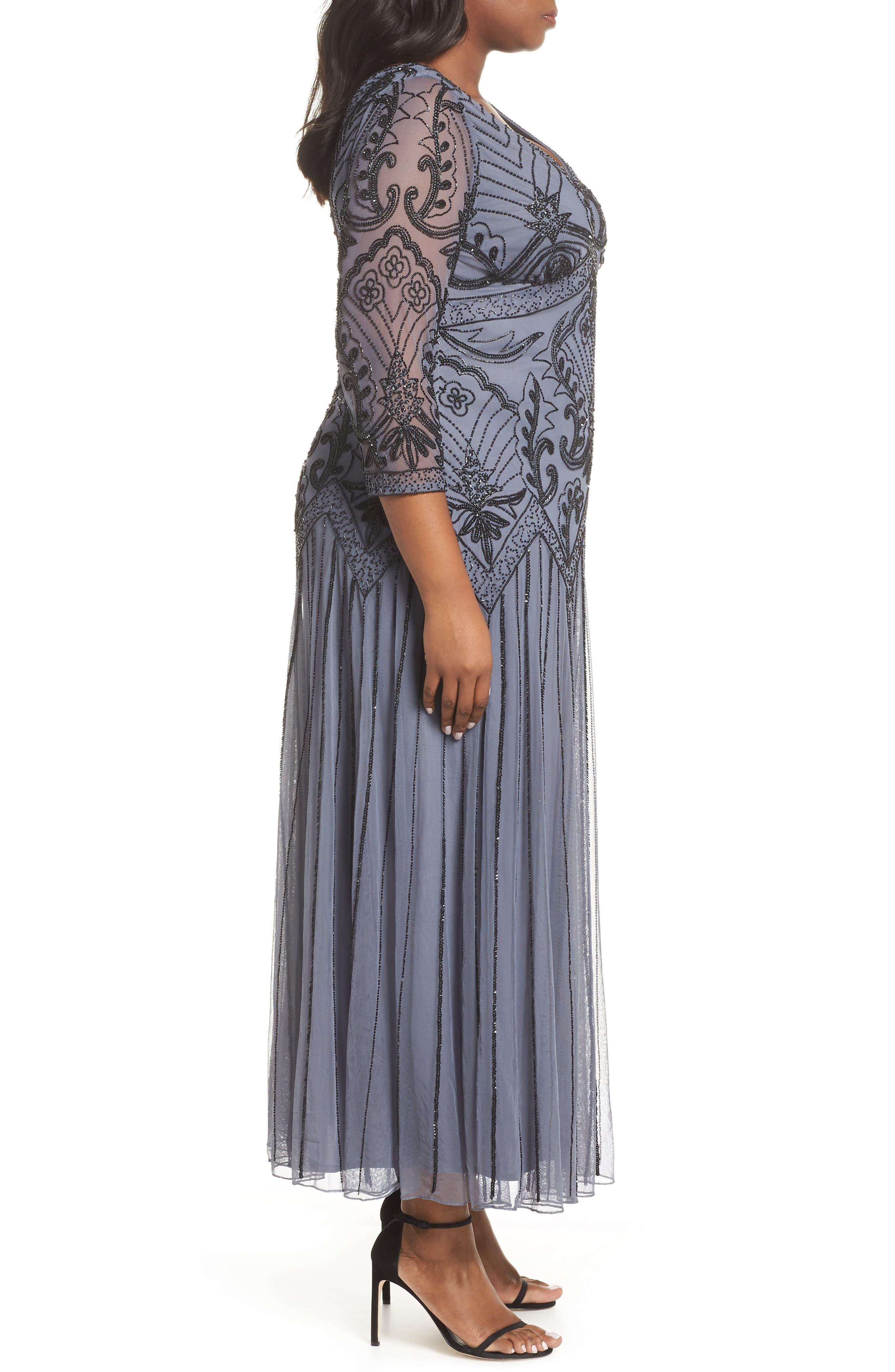 Embellished Double V-Neck Long Dress,                             Alternate thumbnail 3, color,                             GREY/ SILVER