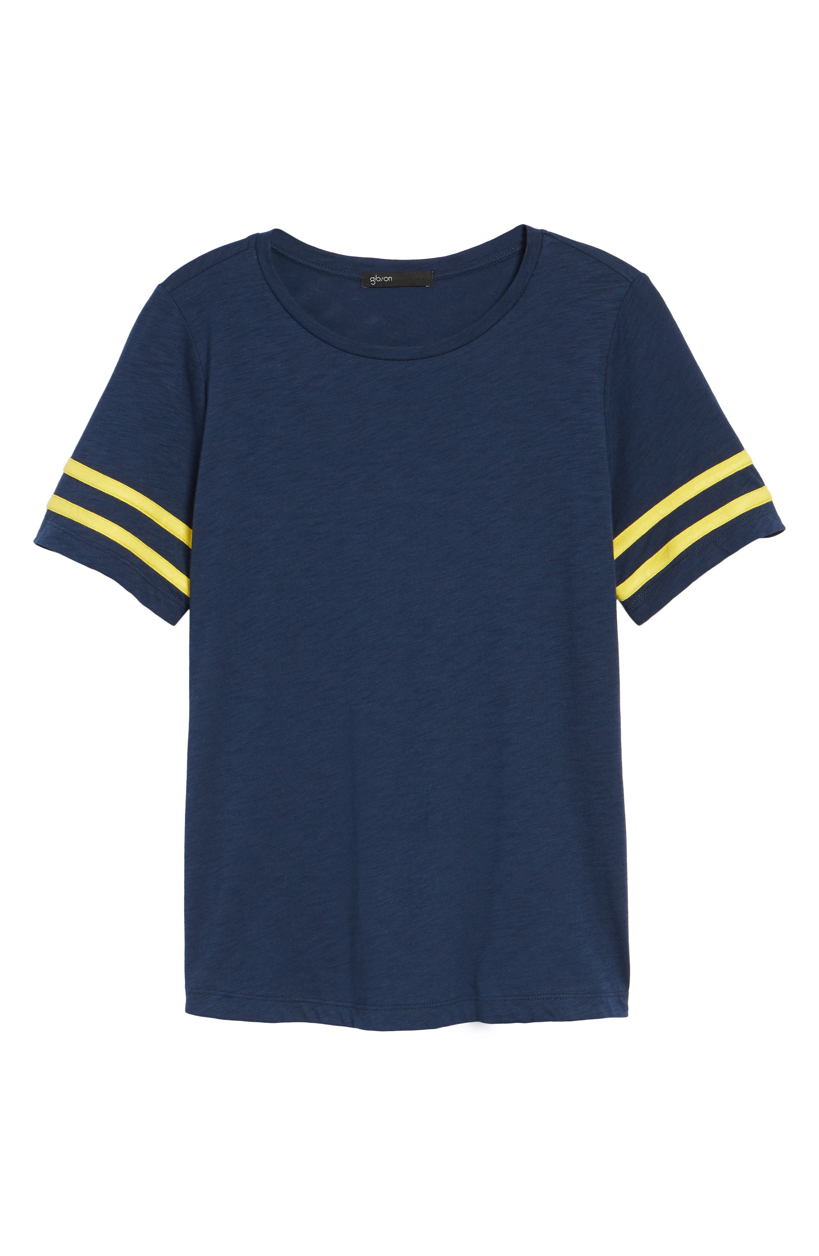 Stripe Sleeve Cotton Blend Athletic Tee,                             Alternate thumbnail 24, color,