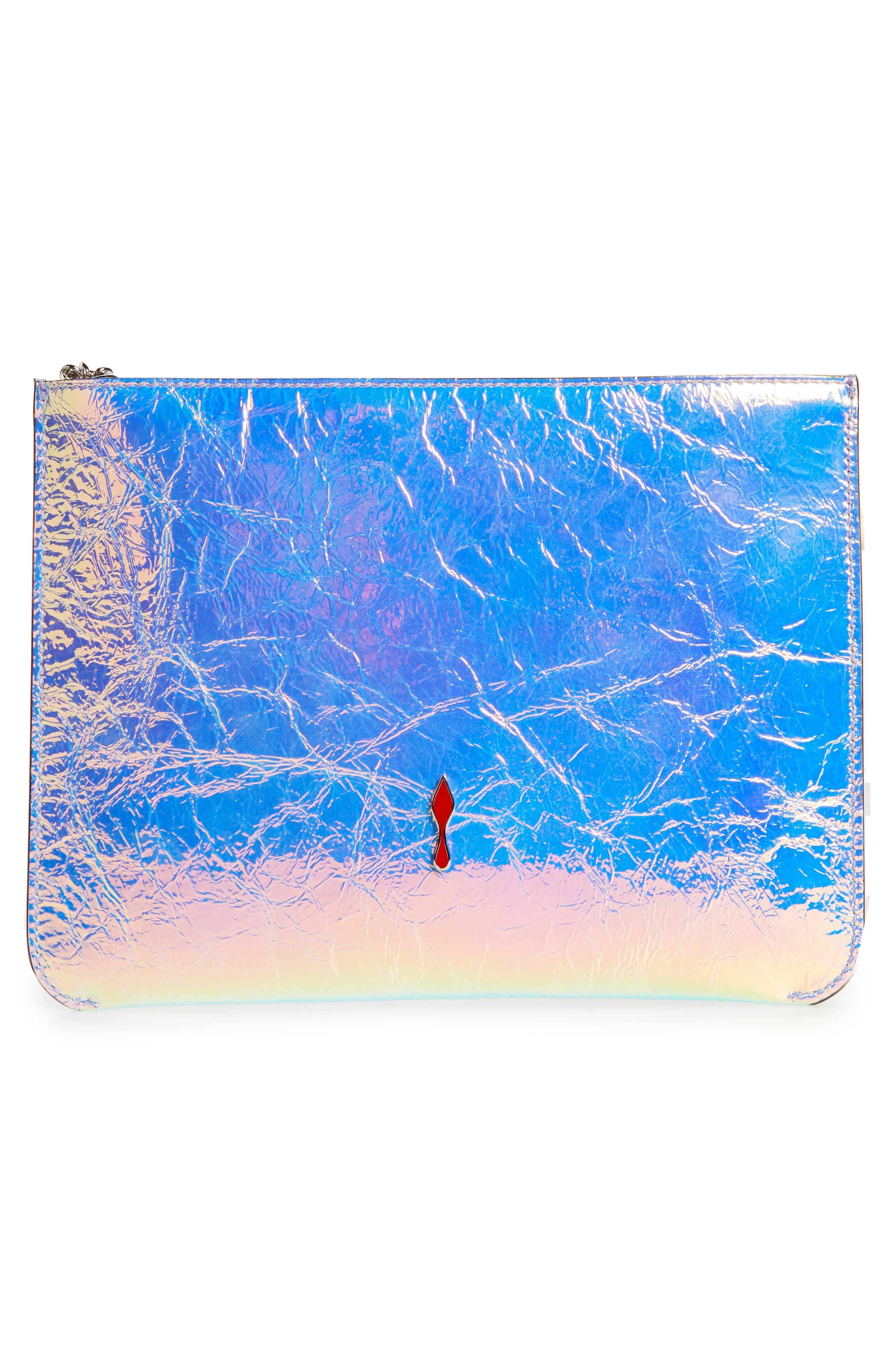 CHRISTIAN LOUBOUTIN,                             Loubicute Crinkled Leather Pouch,                             Alternate thumbnail 3, color,                             AB/ SILVER