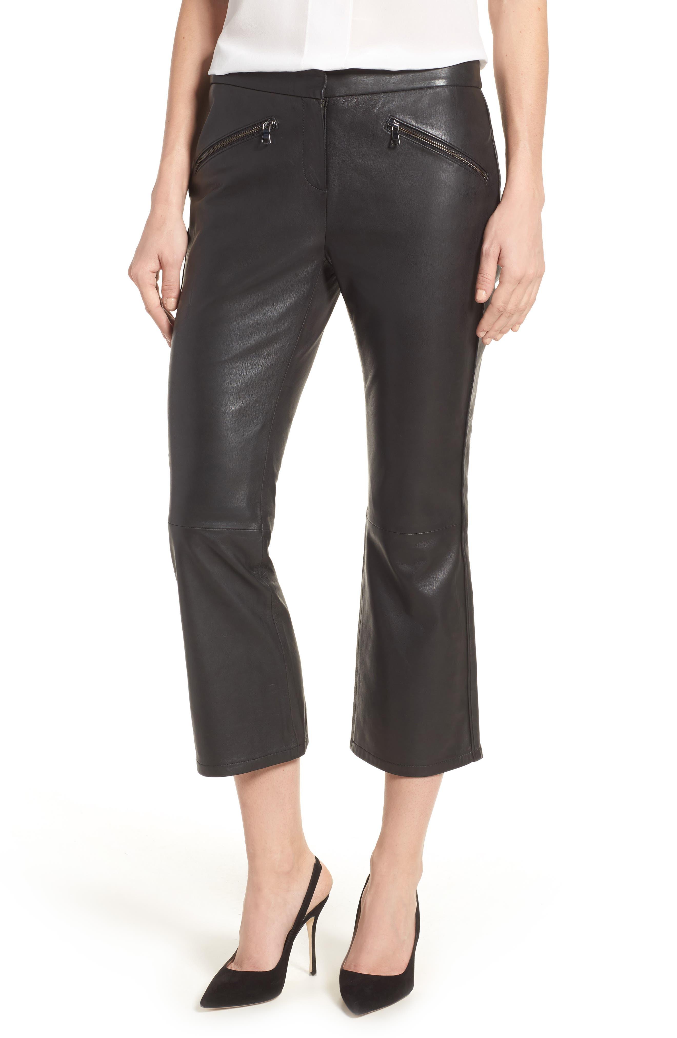 Crop Flare Leather Pants,                             Main thumbnail 1, color,                             001