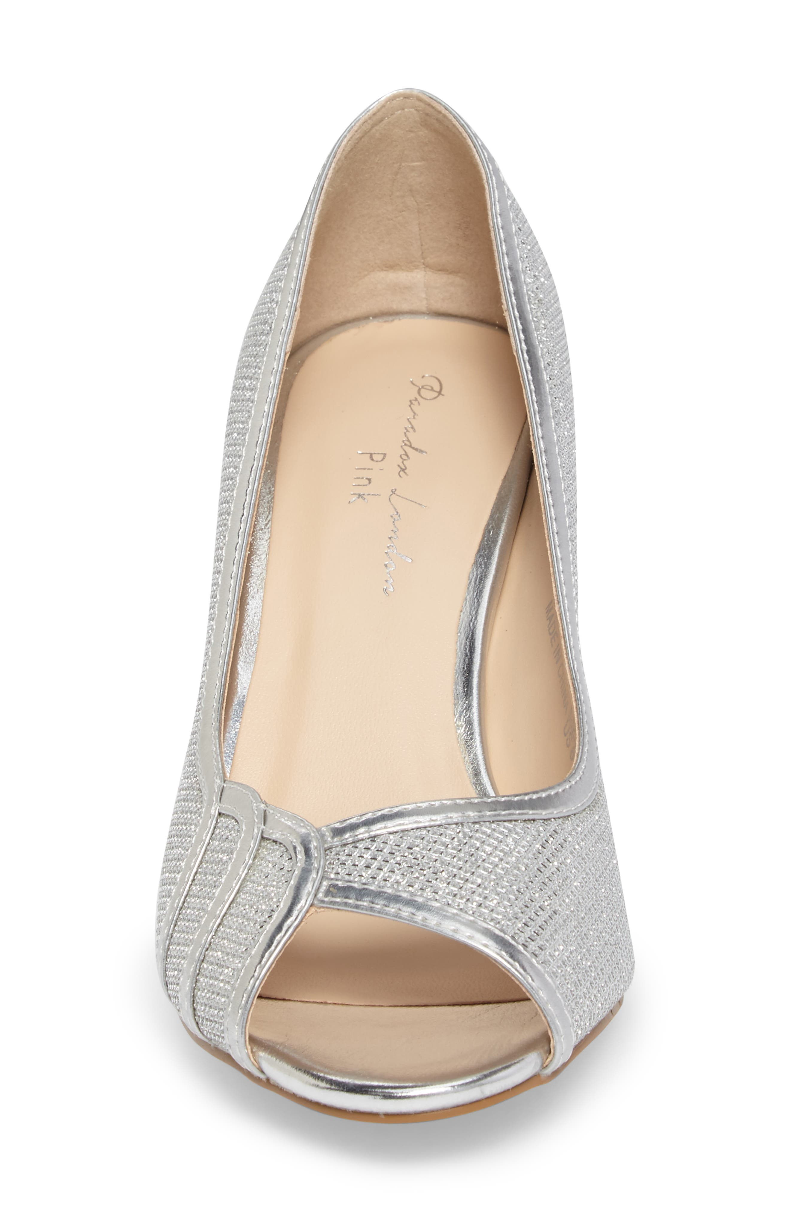 Chester Peep Toe Pump,                             Alternate thumbnail 4, color,                             SILVER