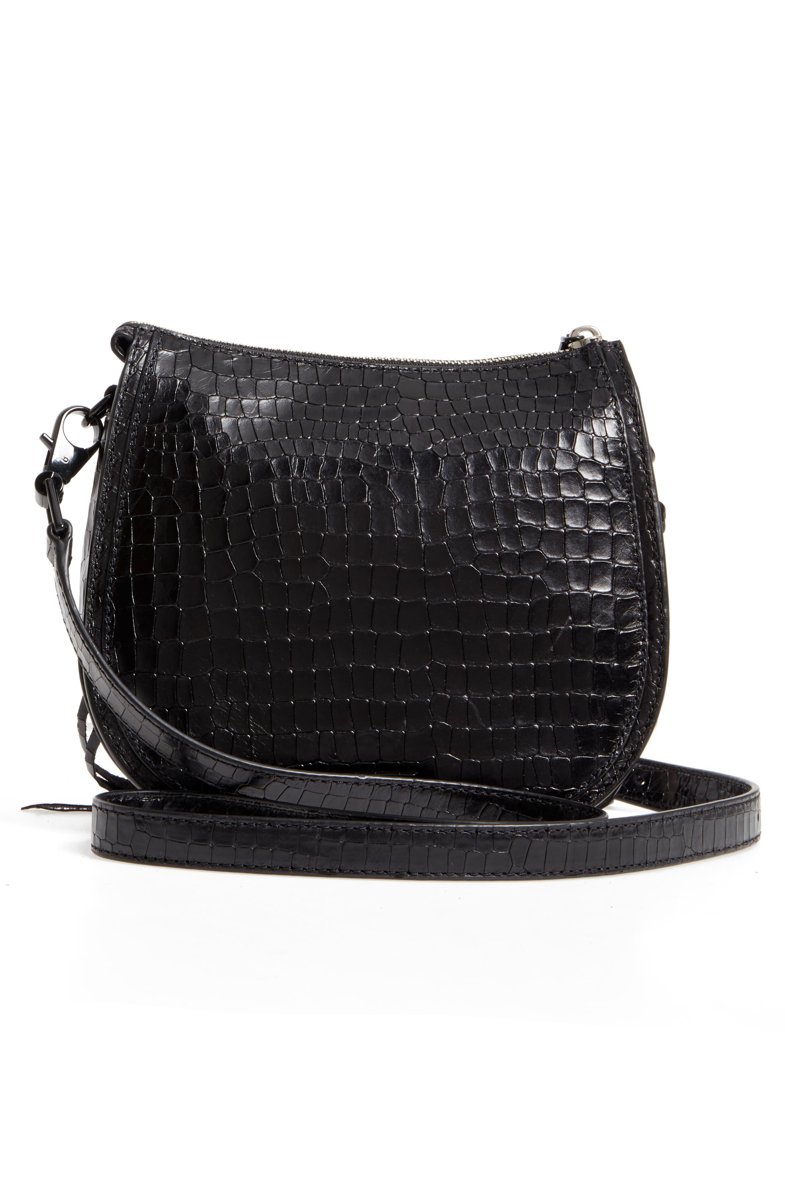 Vanity Croc-Embossed Leather Saddle Bag,                             Alternate thumbnail 3, color,