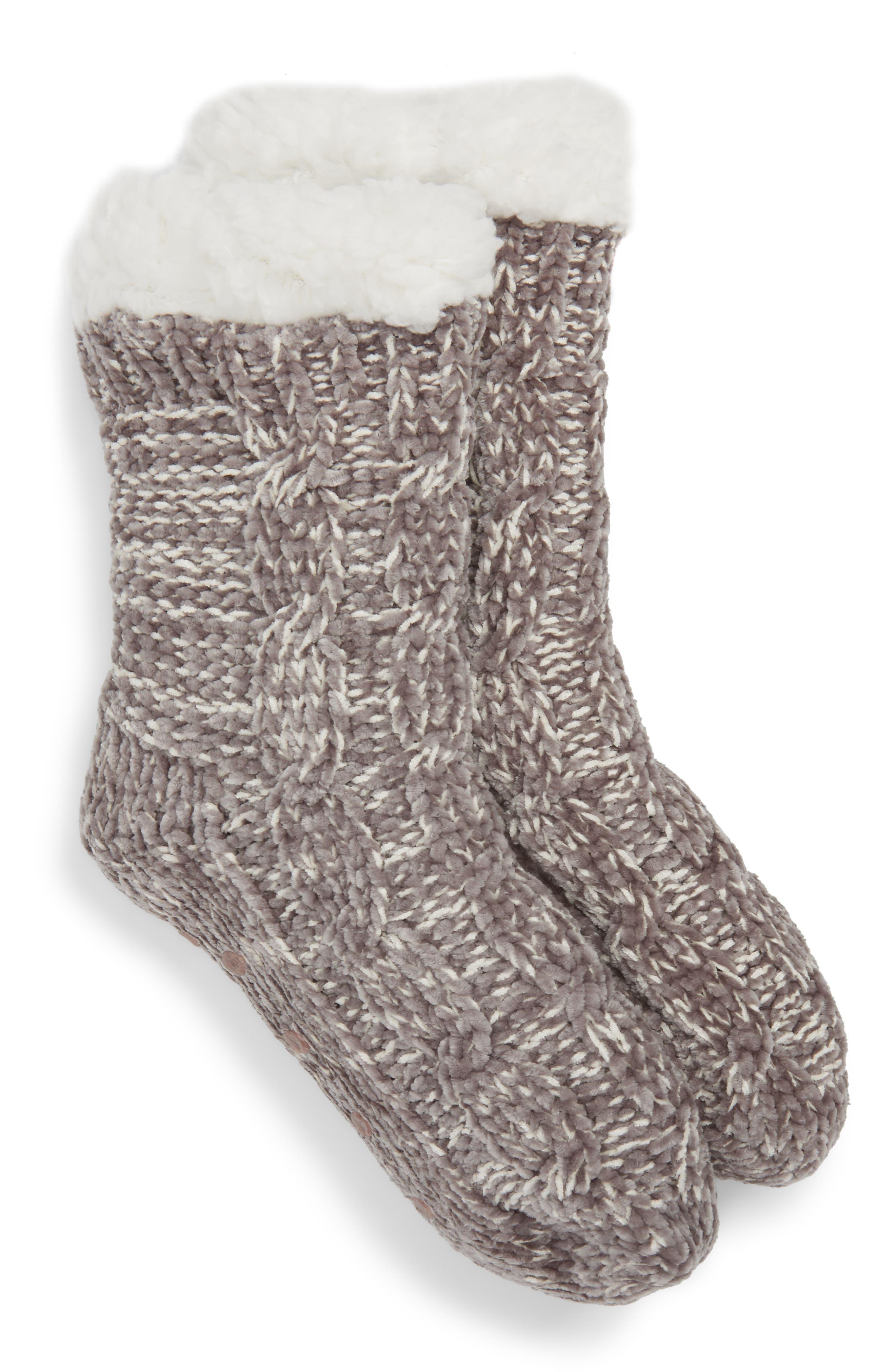 Chenille Slipper Sock,                             Main thumbnail 1, color,                             020