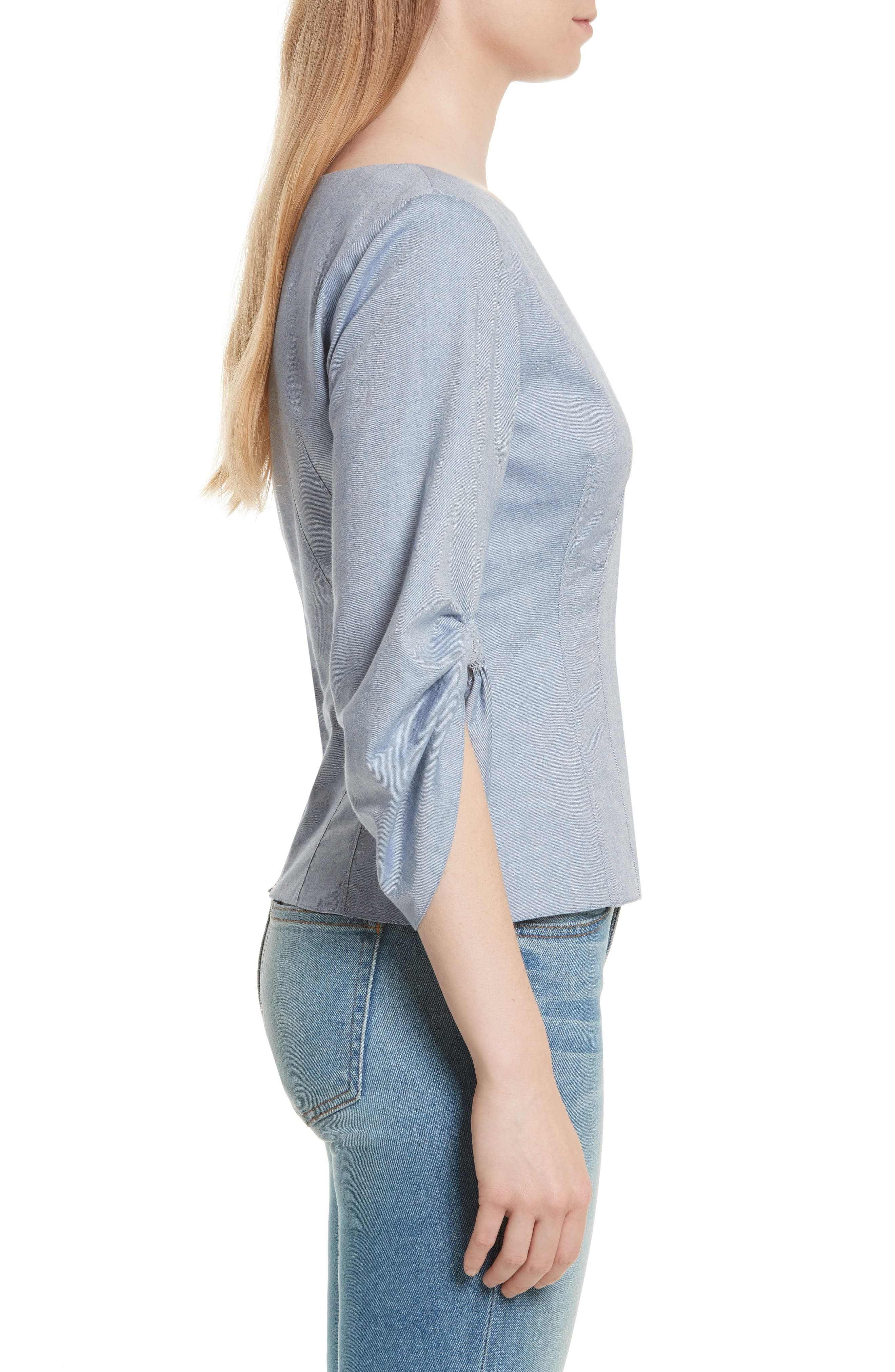 Corset Ruched Sleeve Top,                             Alternate thumbnail 3, color,