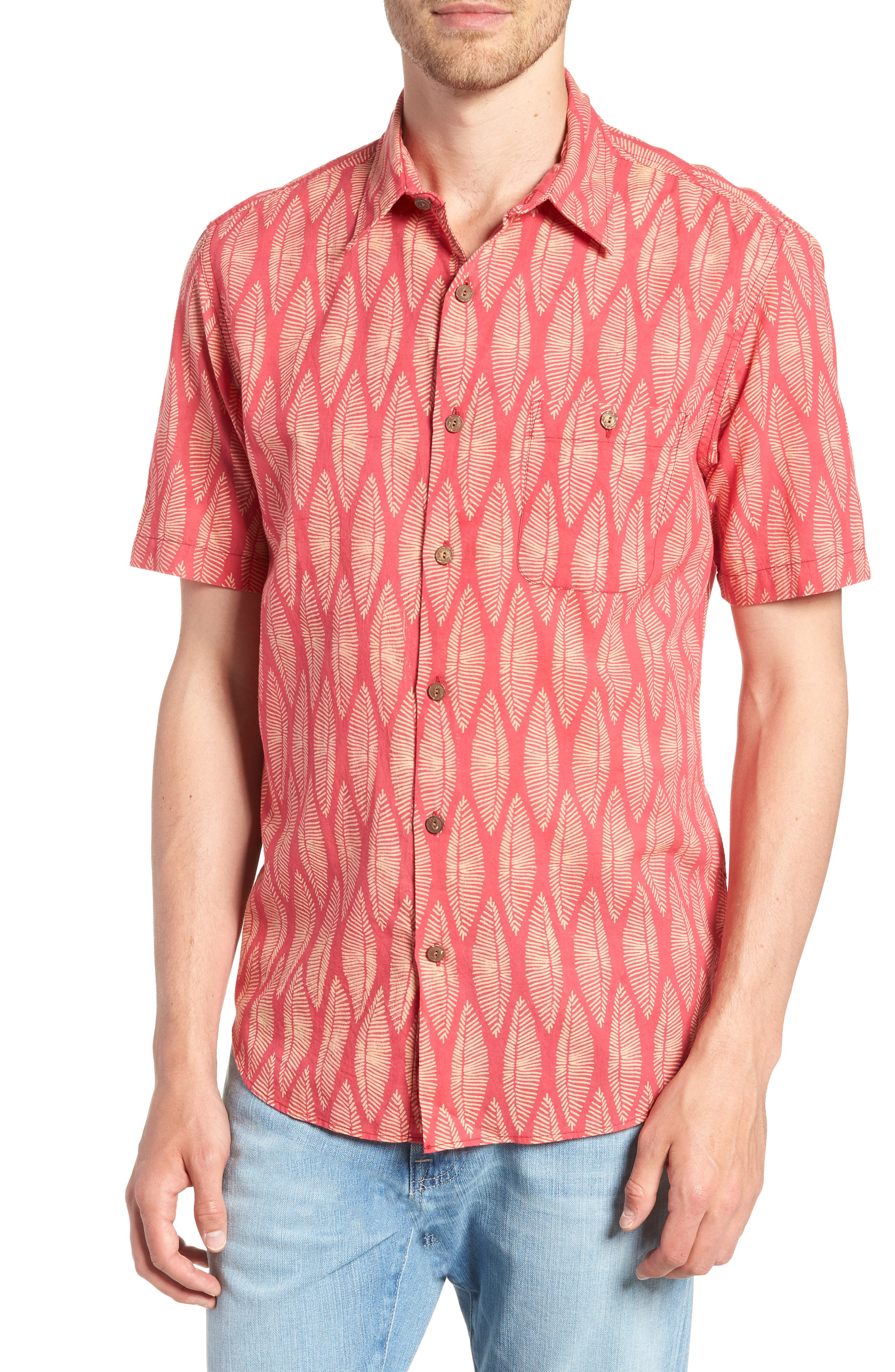Coast Surfboard Leaf Print Sport Shirt,                         Main,                         color,