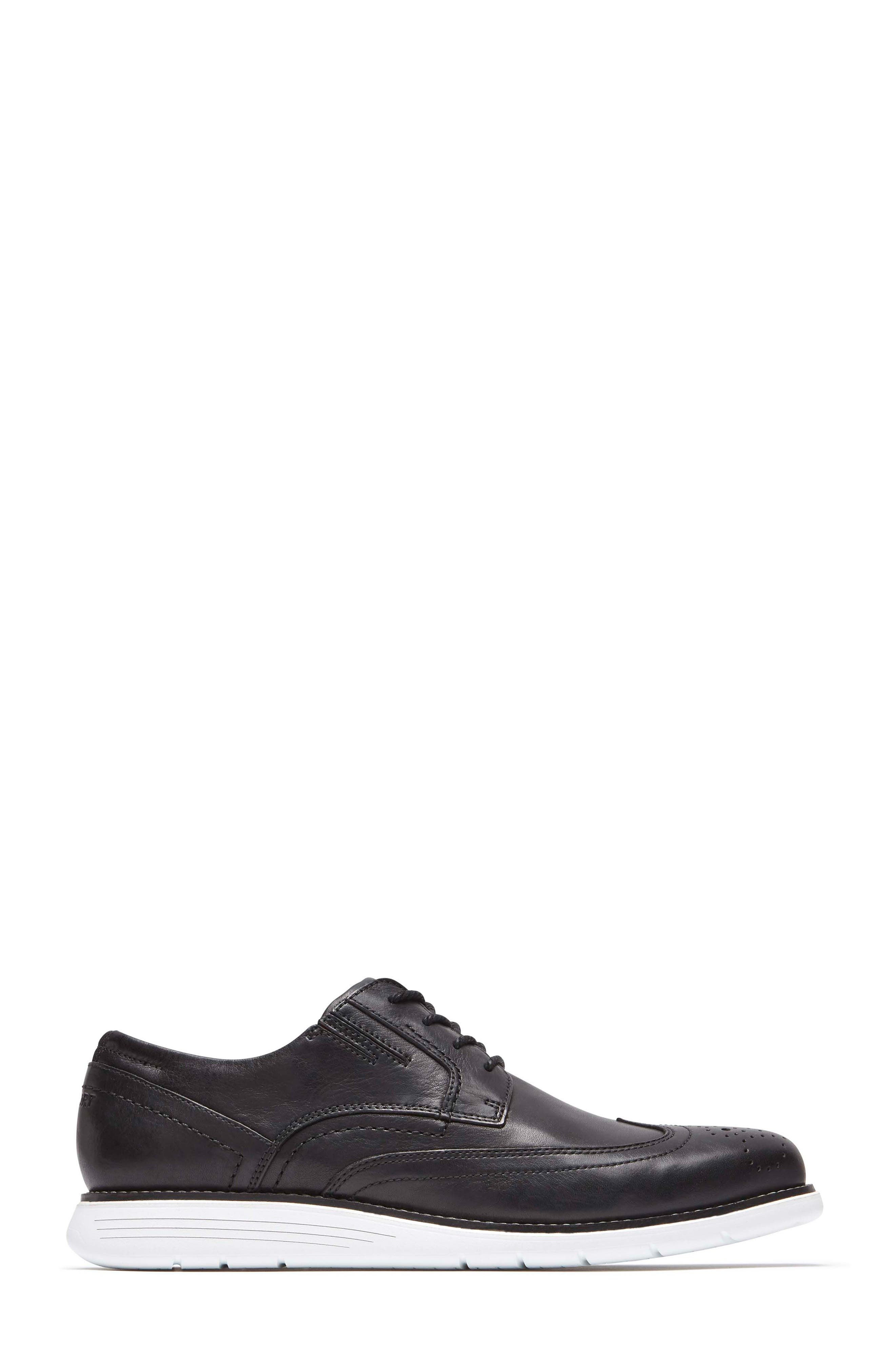 Total Motion Sport Wingtip,                             Alternate thumbnail 3, color,                             BLACK LEATHER