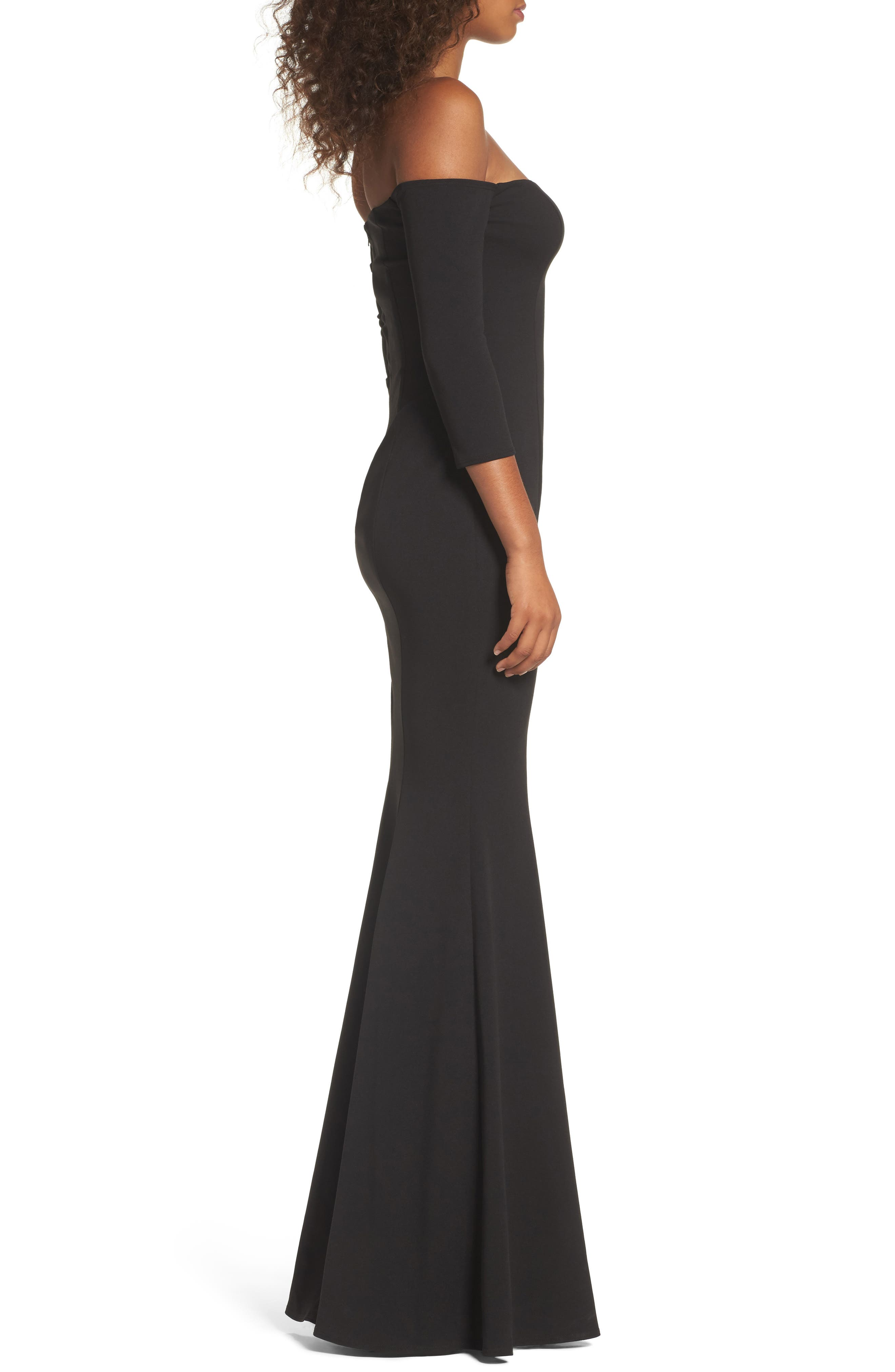 Brentwood Three-Quarter Sleeve Off the Shoulder Gown,                             Alternate thumbnail 3, color,                             BLACK
