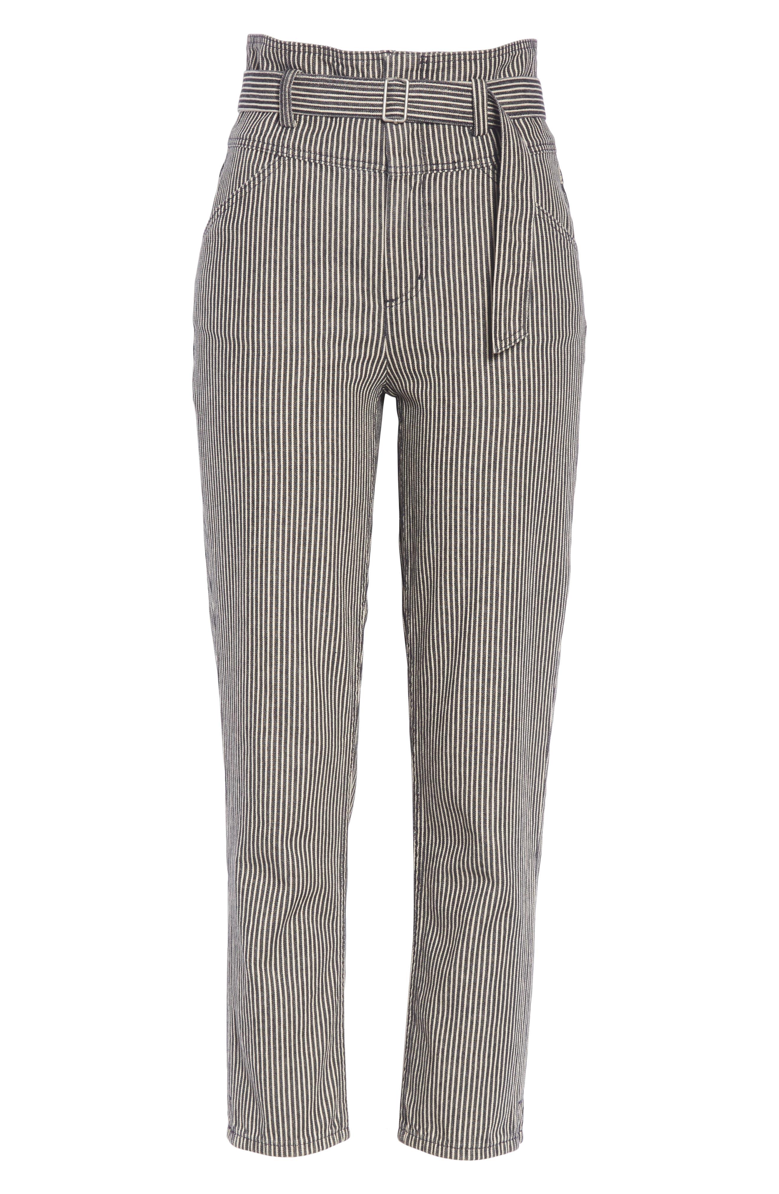 Stripe Crop Pants,                             Alternate thumbnail 6, color,                             001