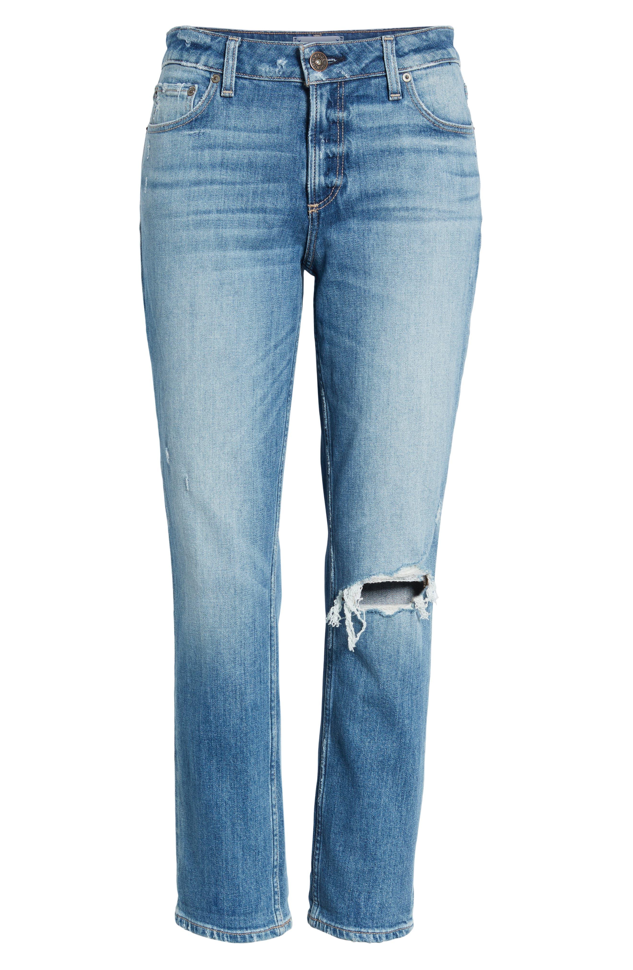 Brigitte Ripped Crop Boyfriend Jeans,                             Alternate thumbnail 7, color,                             BROOKVIEW DESTRUCTED