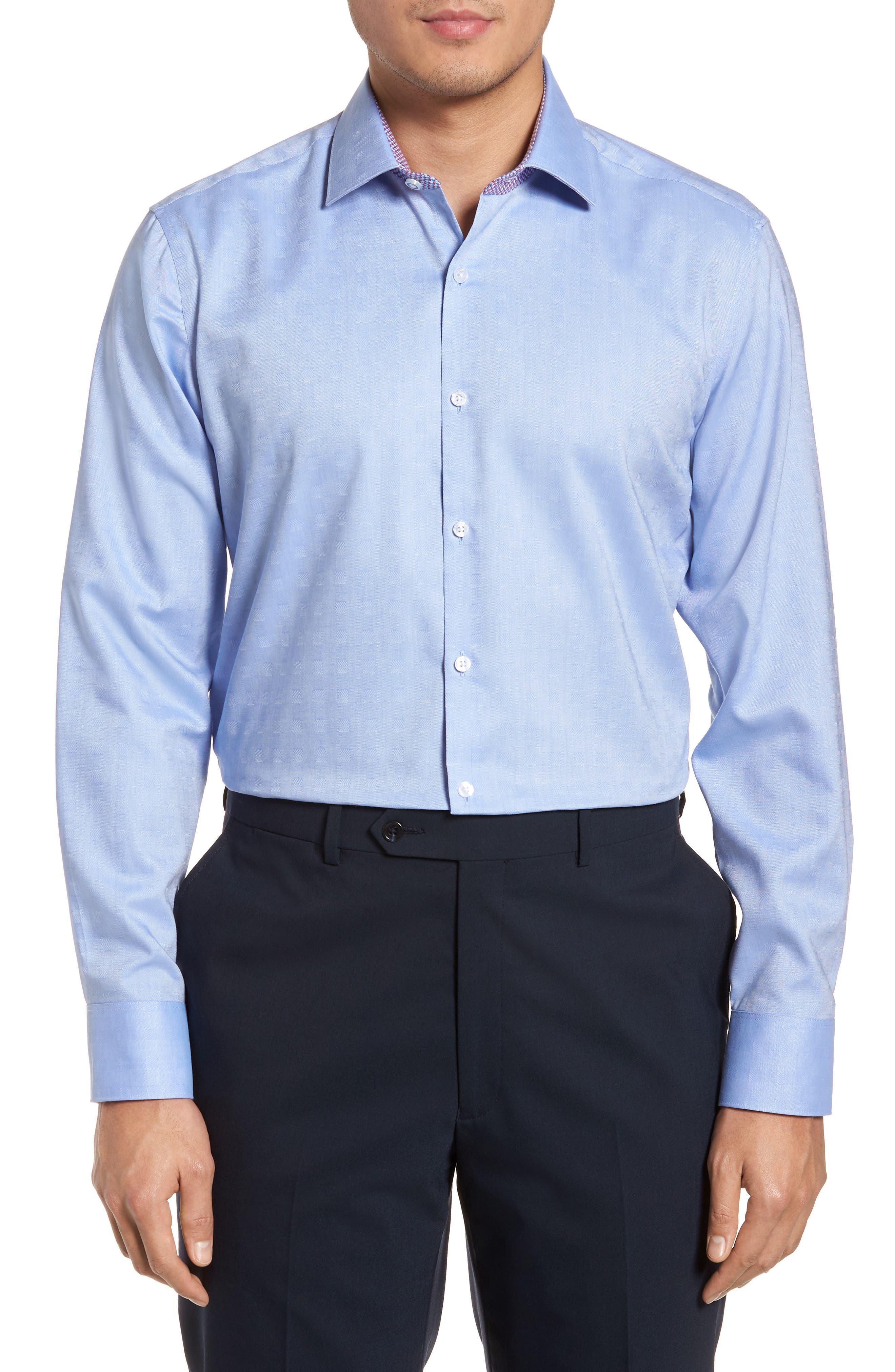 Ashur Trim Fit Solid Dress Shirt,                         Main,                         color, BLUE