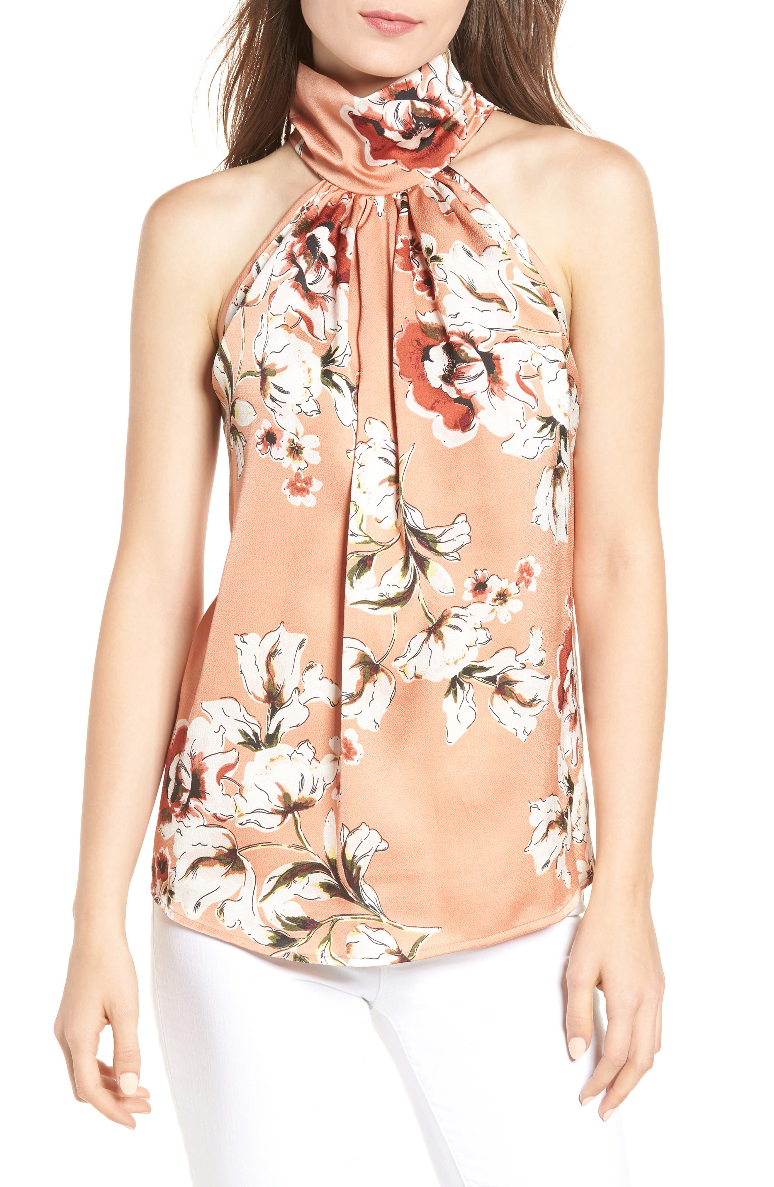 Bishop + Young Tie Neck Blouse,                         Main,                         color, NATURAL