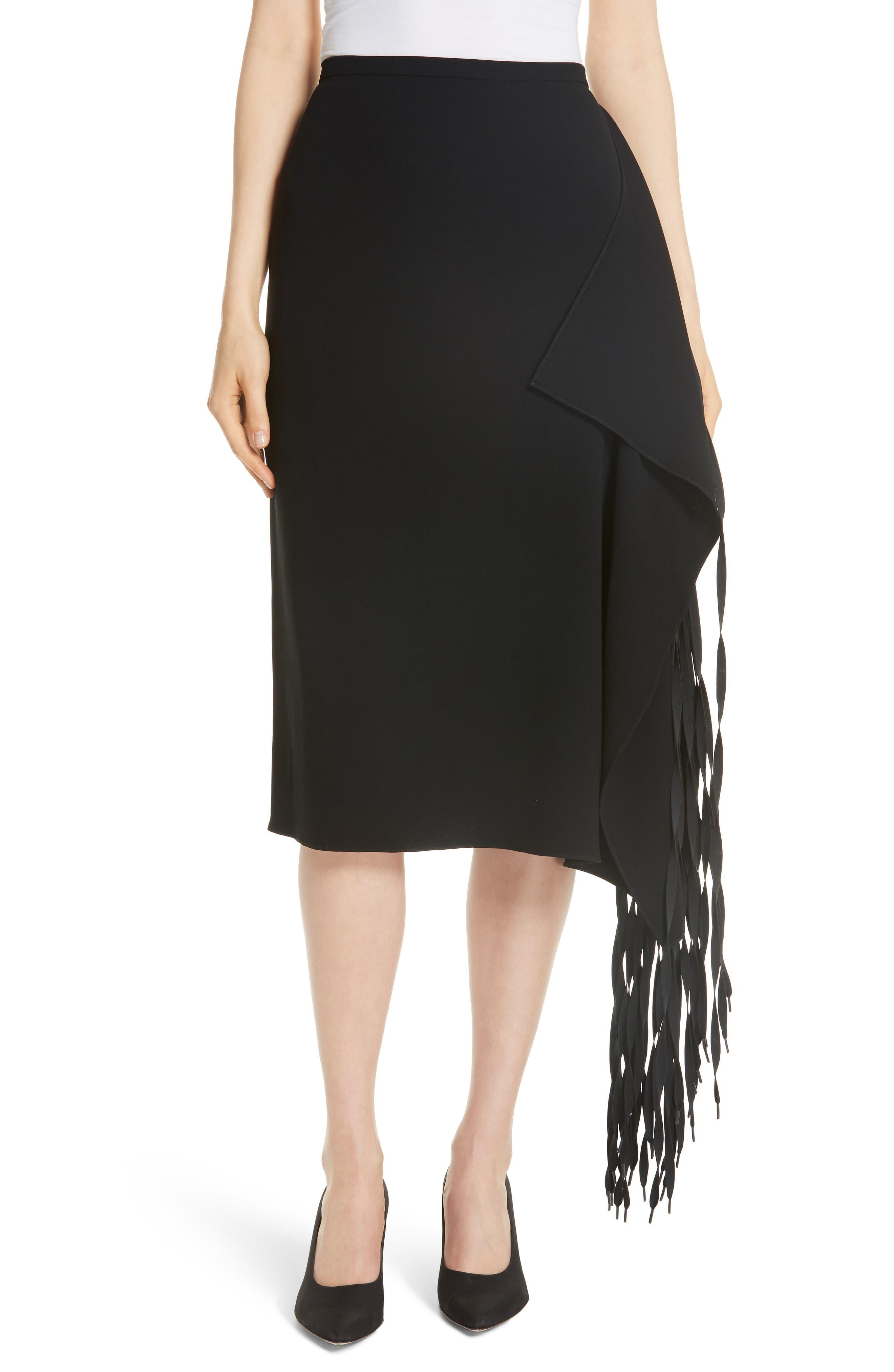 TIBI,                             Shoelace Fringe Skirt,                             Main thumbnail 1, color,                             BLACK