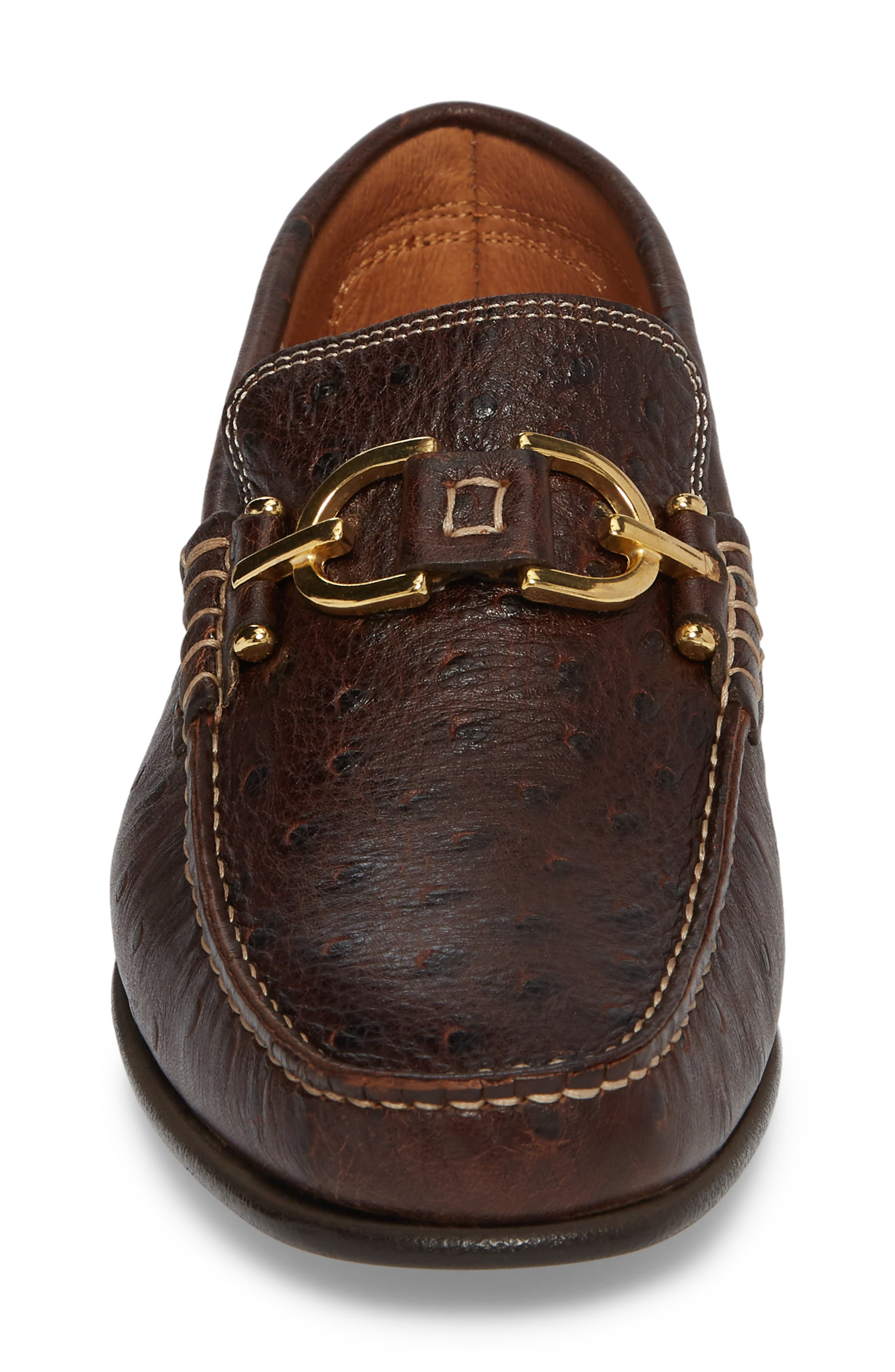 Dacio Square-Toe Loafer,                             Alternate thumbnail 4, color,                             BROWN LEATHER
