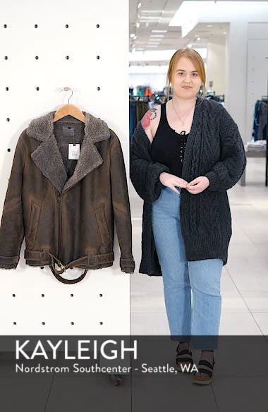Faux Shearling Trim Biker Jacket, sales video thumbnail