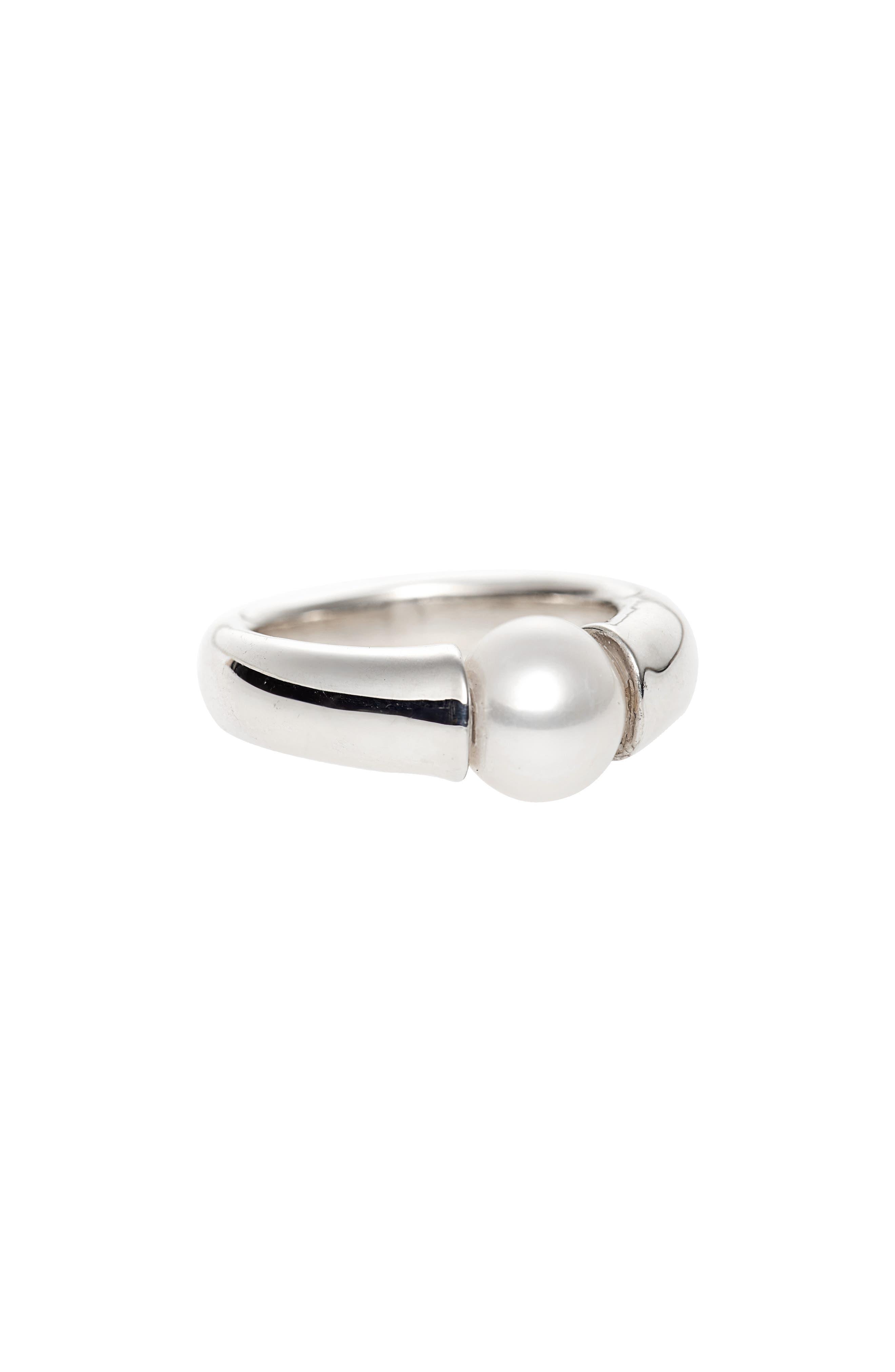 Vermeer Freshwater Pearl Ring,                             Main thumbnail 1, color,                             STERLING SILVER/ FRSHWTR PRL