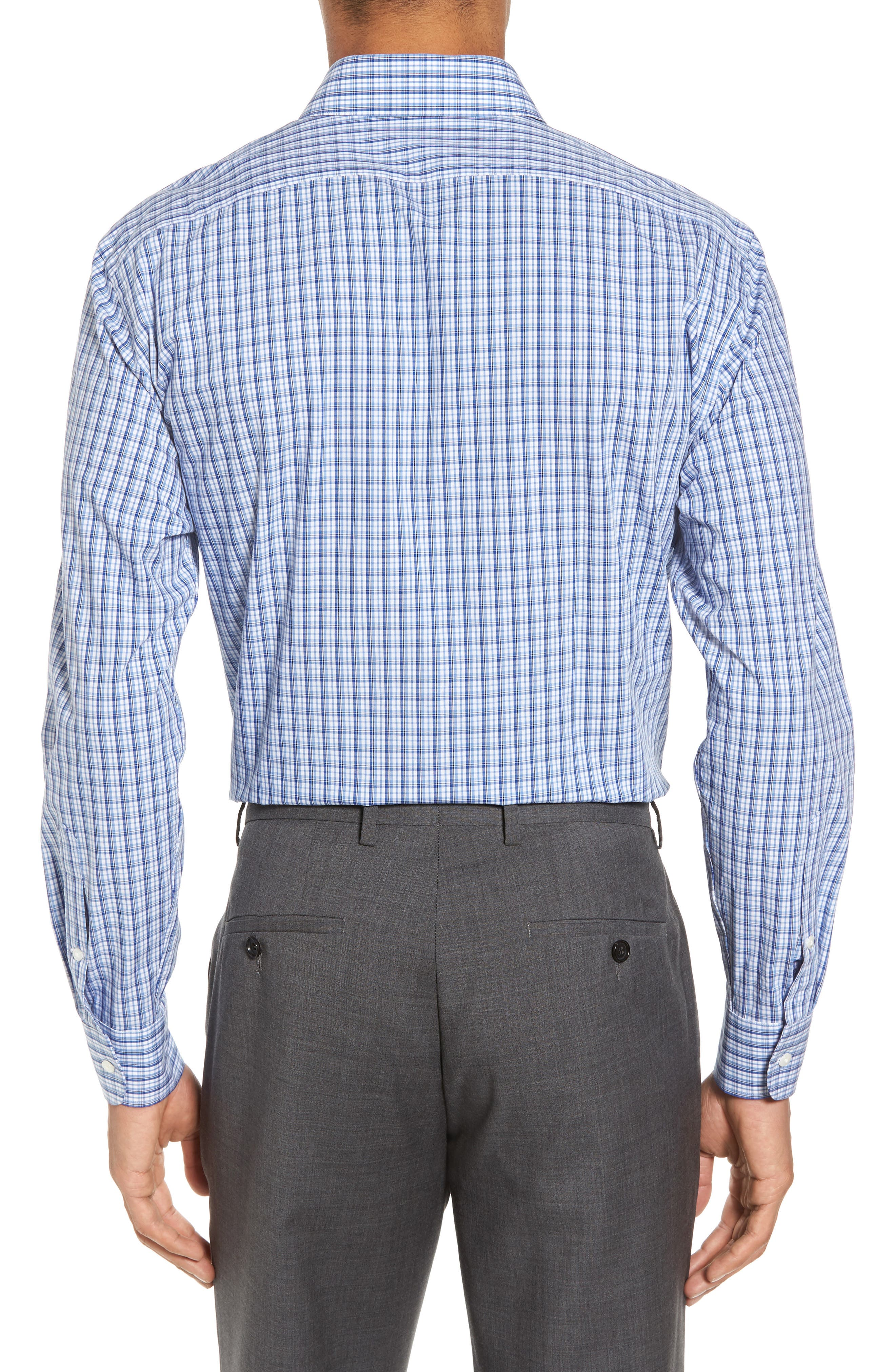 Tech-Smart Trim Fit Stretch Plaid Dress Shirt,                             Alternate thumbnail 2, color,                             401