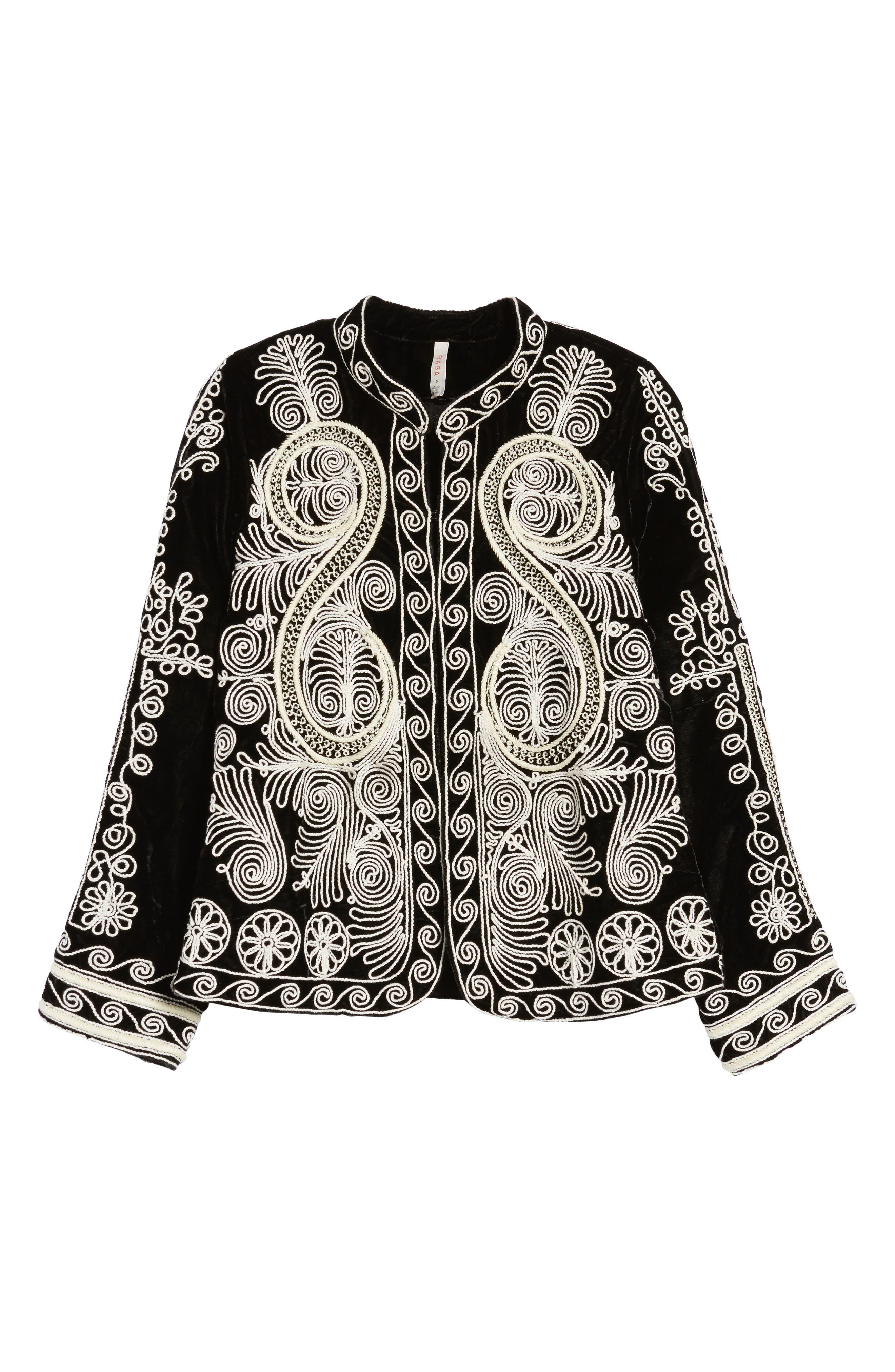Embroidered Velvet Jacket,                             Alternate thumbnail 5, color,                             001