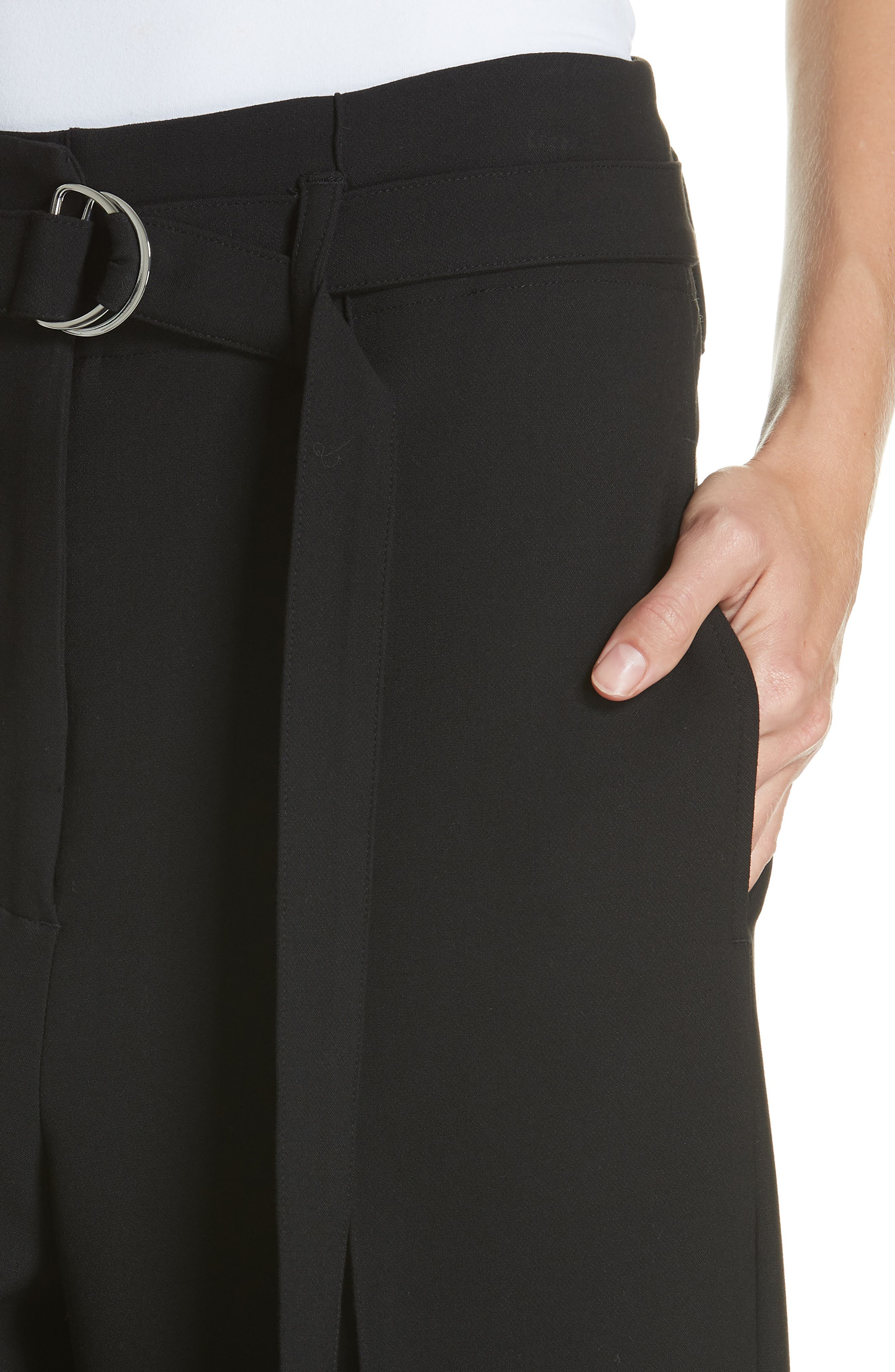 Belted Wide Leg Pants,                             Alternate thumbnail 4, color,                             BLACK