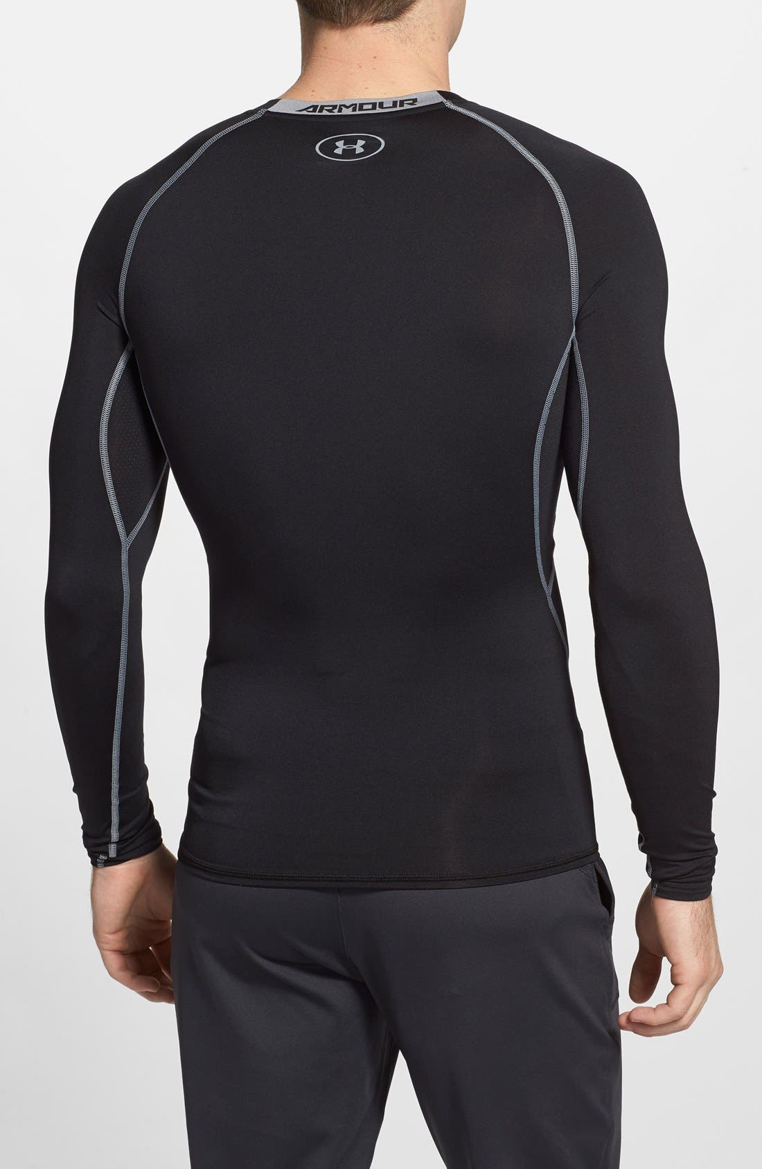 HeatGear<sup>®</sup> Compression Fit Long Sleeve T-Shirt,                             Alternate thumbnail 8, color,                             BLACK/ STEEL