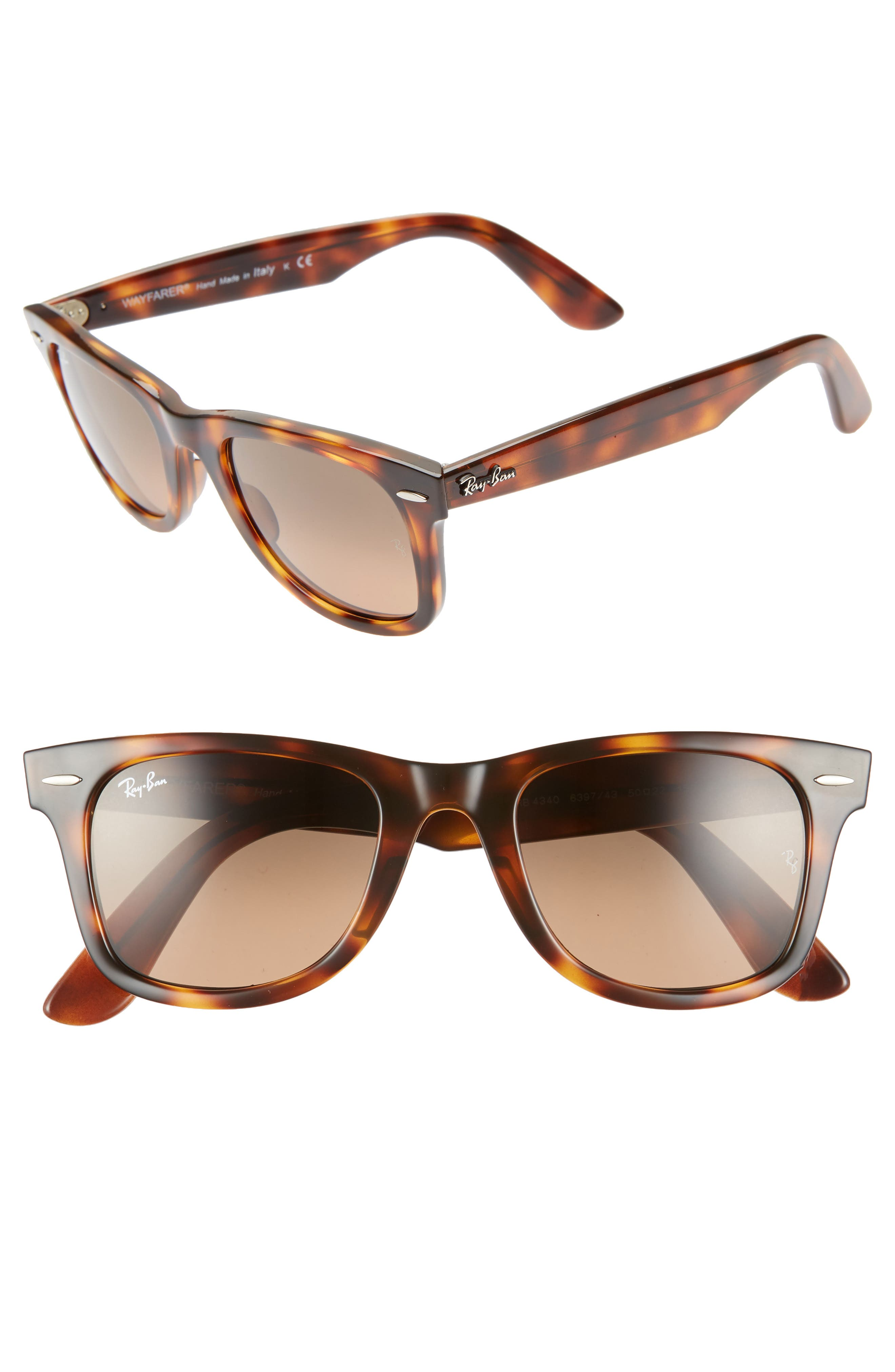 RAY-BAN,                             Wayfarer 50mm Gradient Sunglasses,                             Main thumbnail 1, color,                             BROWN/ GREY