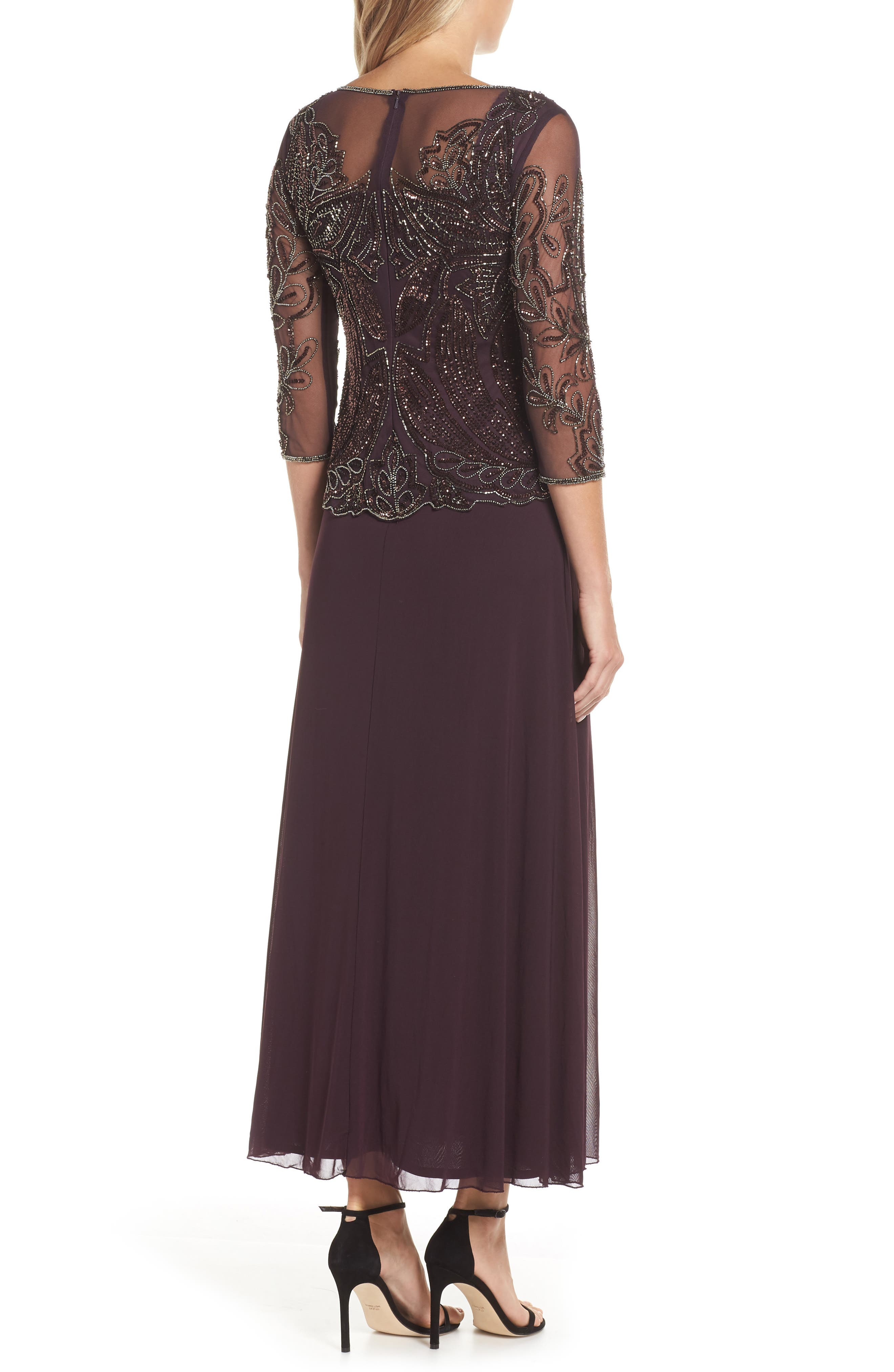 Embellished Mesh Gown,                             Alternate thumbnail 2, color,                             NEW WINE 2