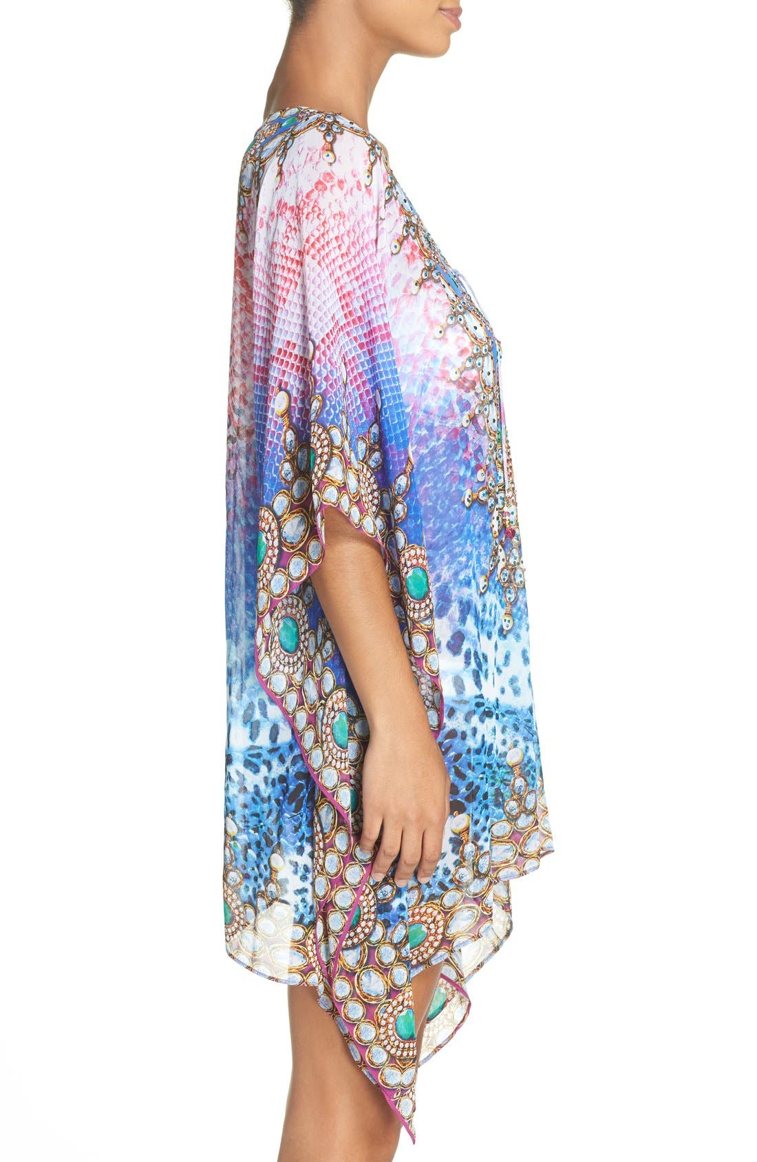 Bora Bora Short Kaftan,                             Alternate thumbnail 3, color,                             MULTI BLUE/ PINK