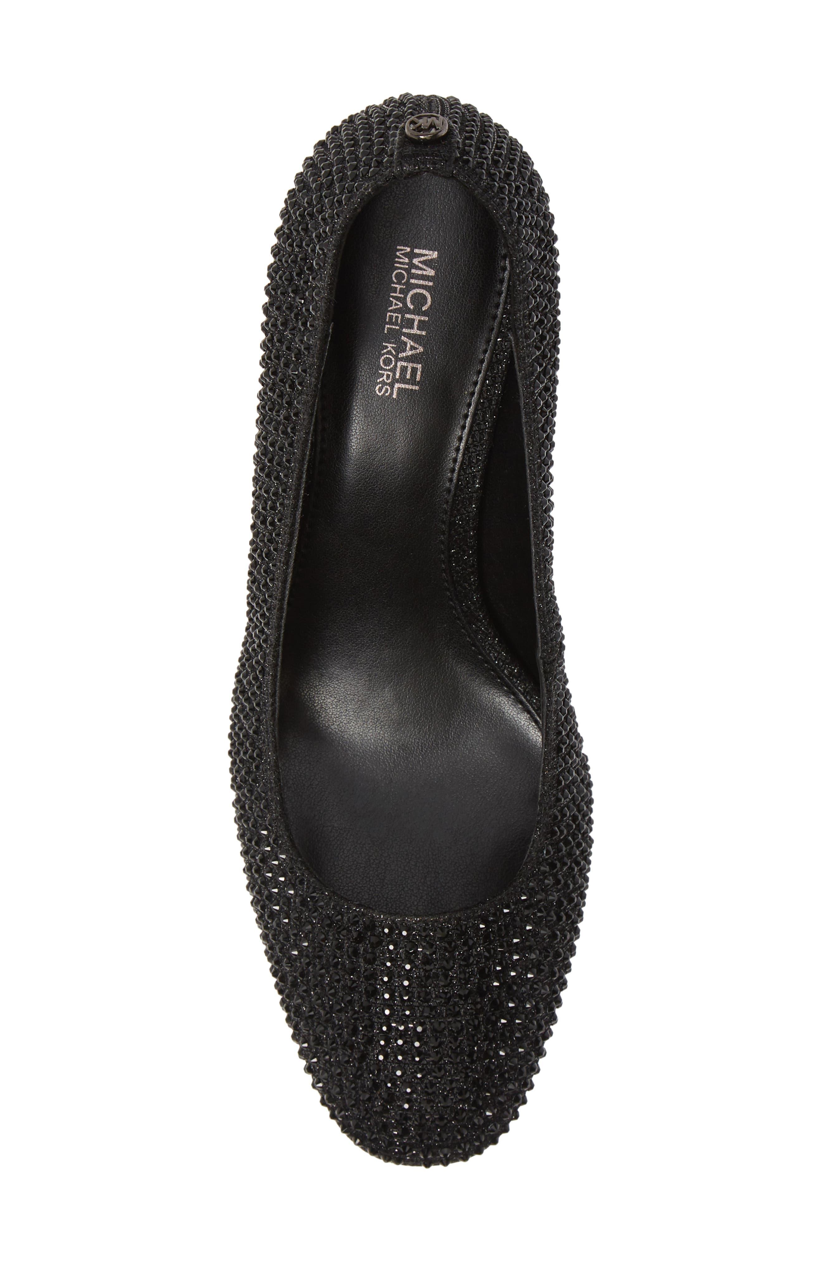 Cher Flex Mid Glitter Heel Pump,                             Alternate thumbnail 5, color,                             BLACK GLITTER MESH