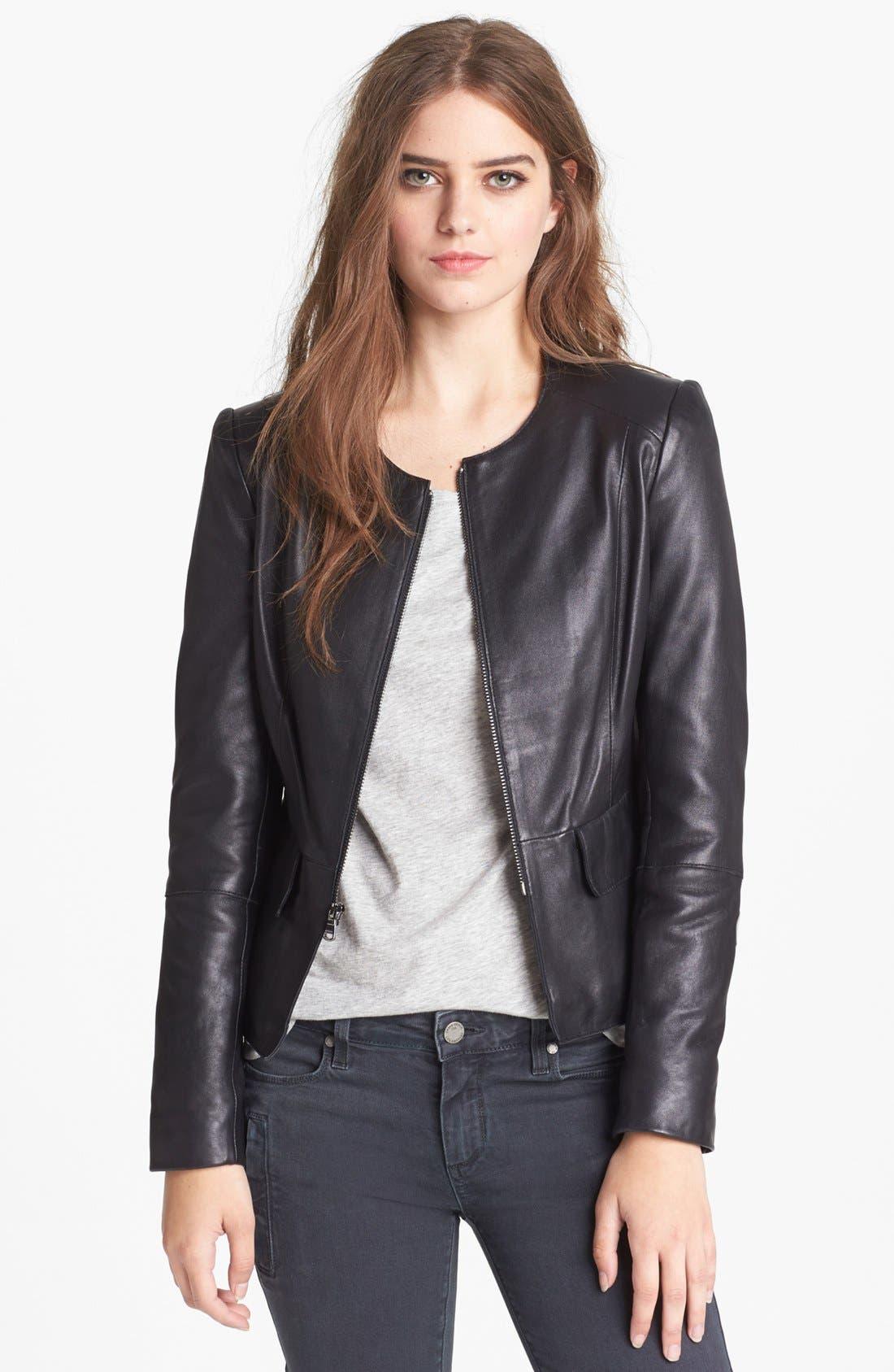 Leather Peplum Jacket,                             Main thumbnail 1, color,                             001