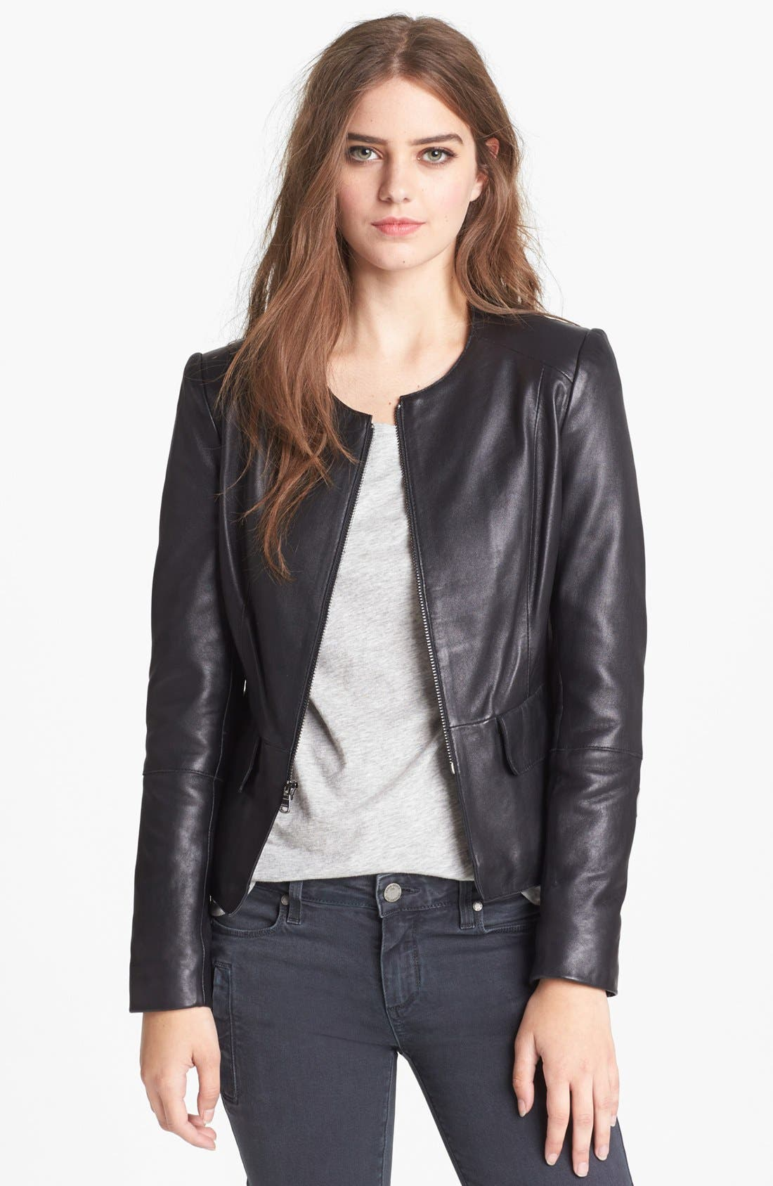 Leather Peplum Jacket, Main, color, 001