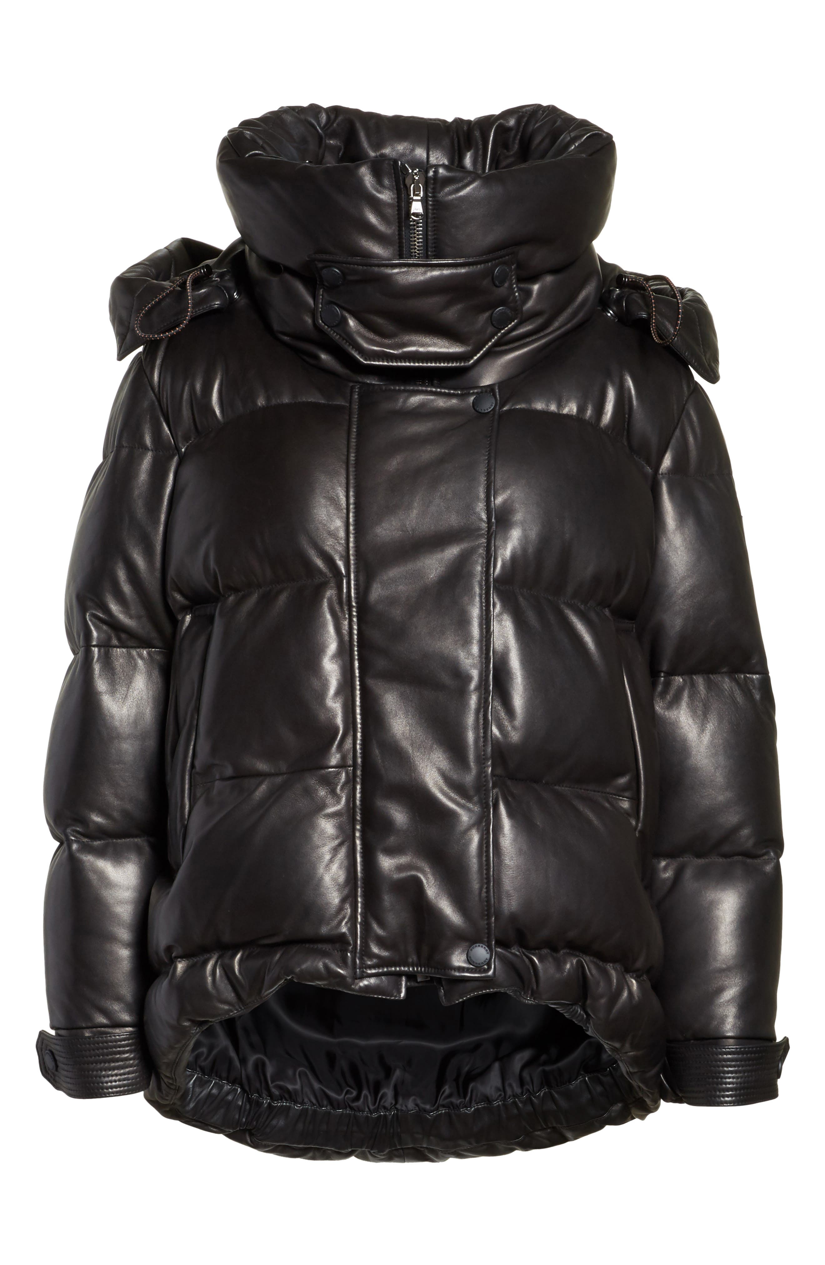 Rocklands Quilted Down Leather Coat,                             Alternate thumbnail 5, color,                             001