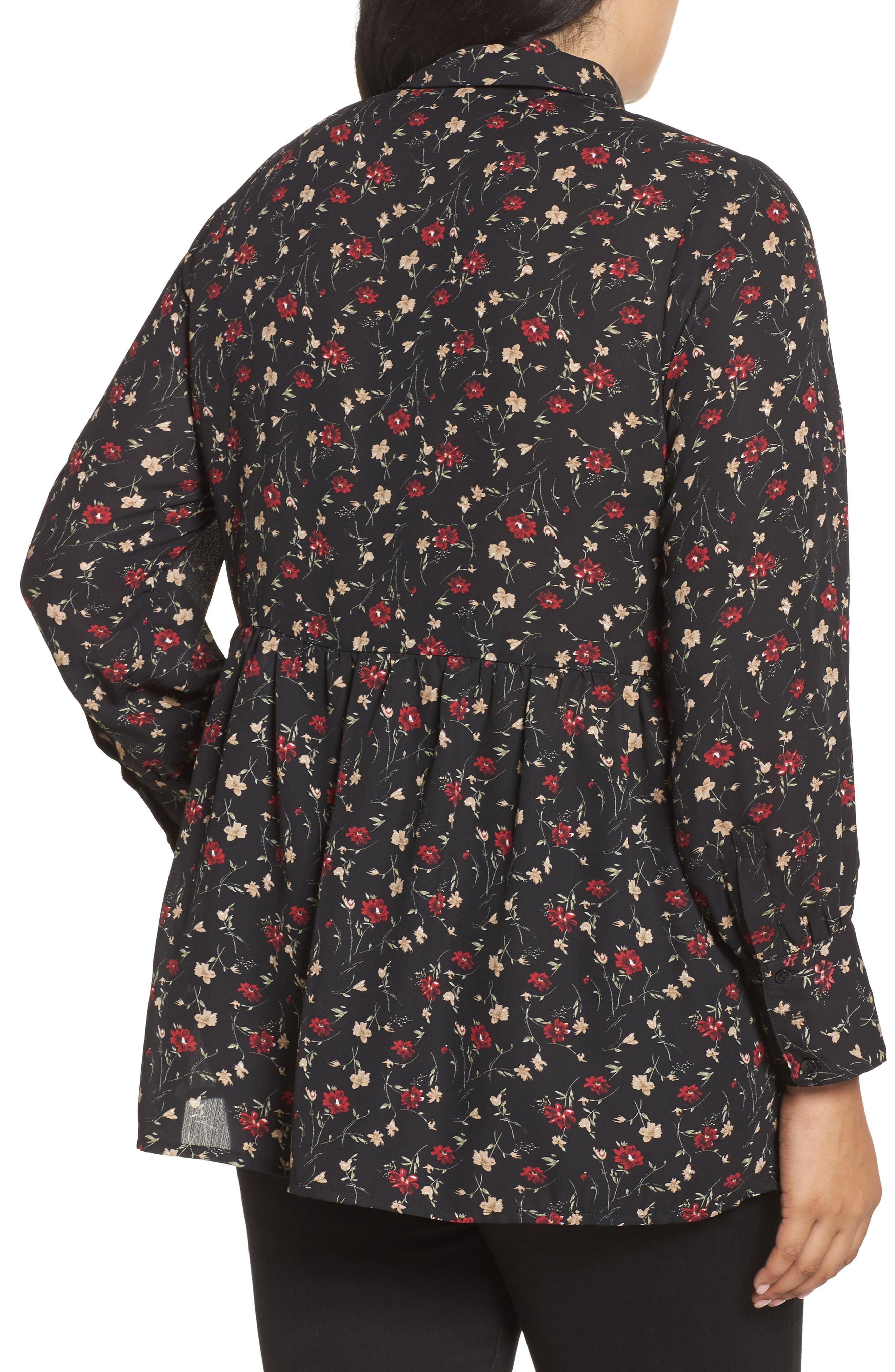 Velvet Tie Floral Blouse,                             Alternate thumbnail 2, color,