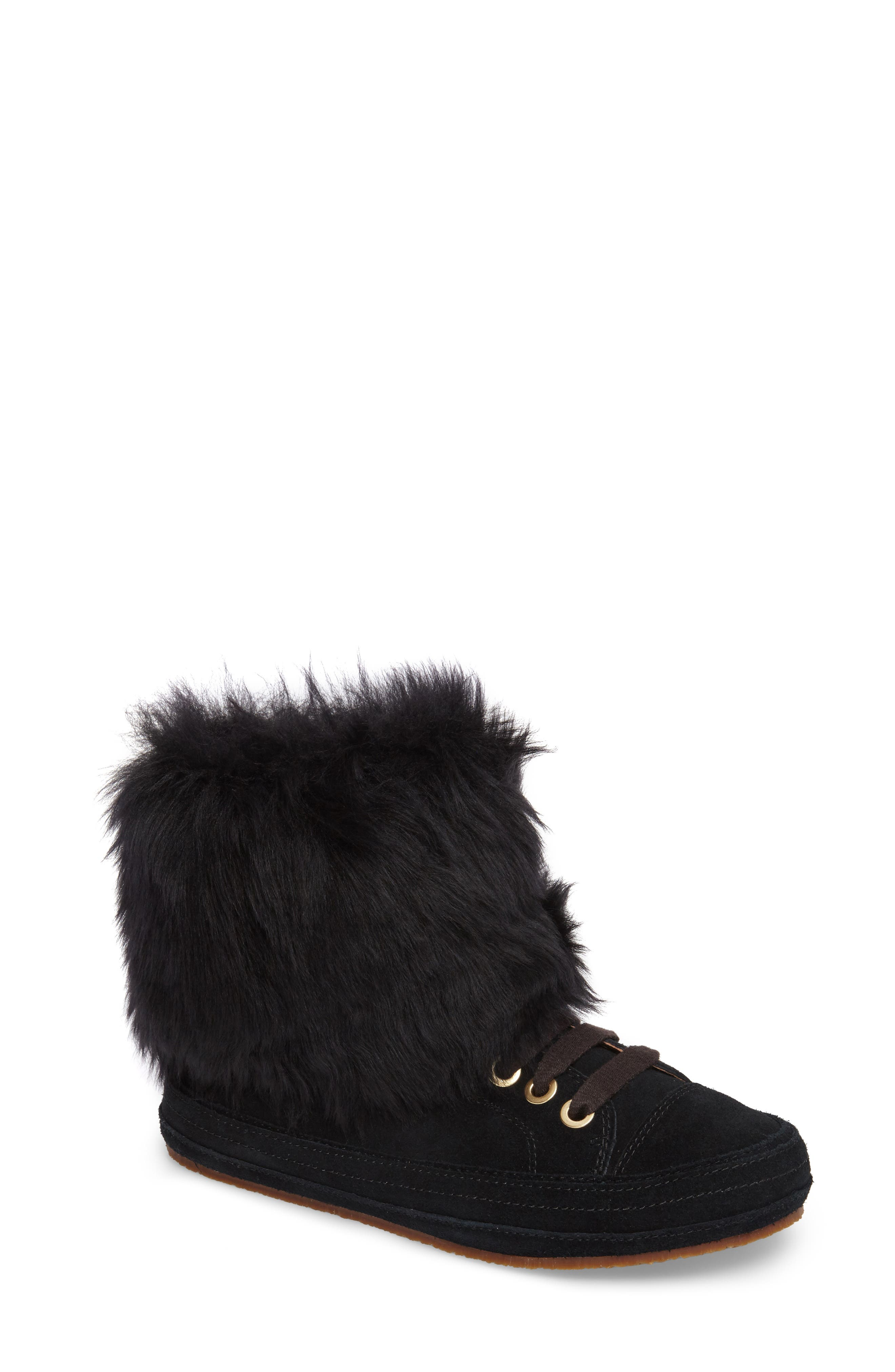 Antoine Fur Cuff Sneaker, Main, color, 001