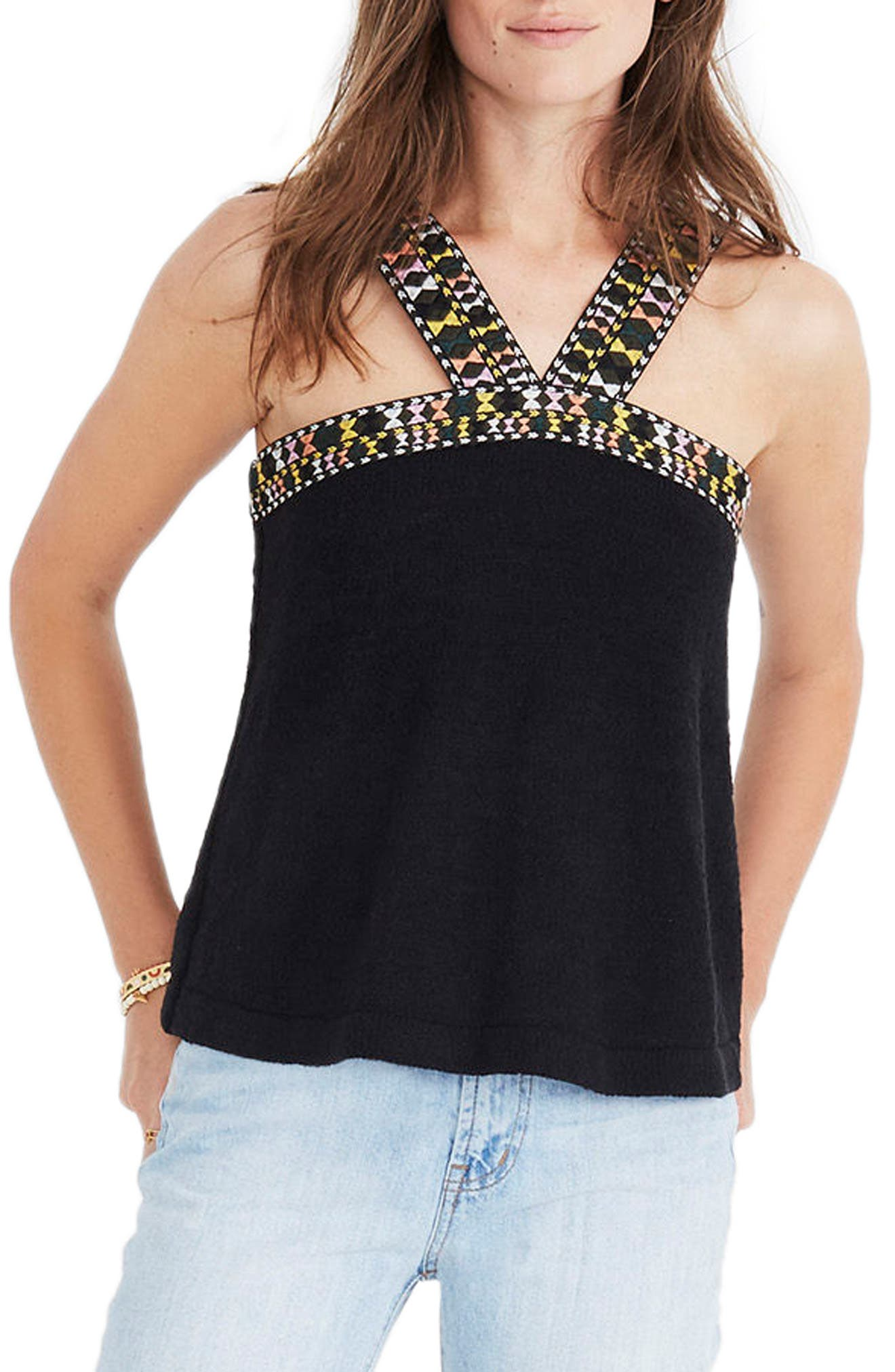 Embroidered Swing Sweater Tank,                             Main thumbnail 1, color,                             009