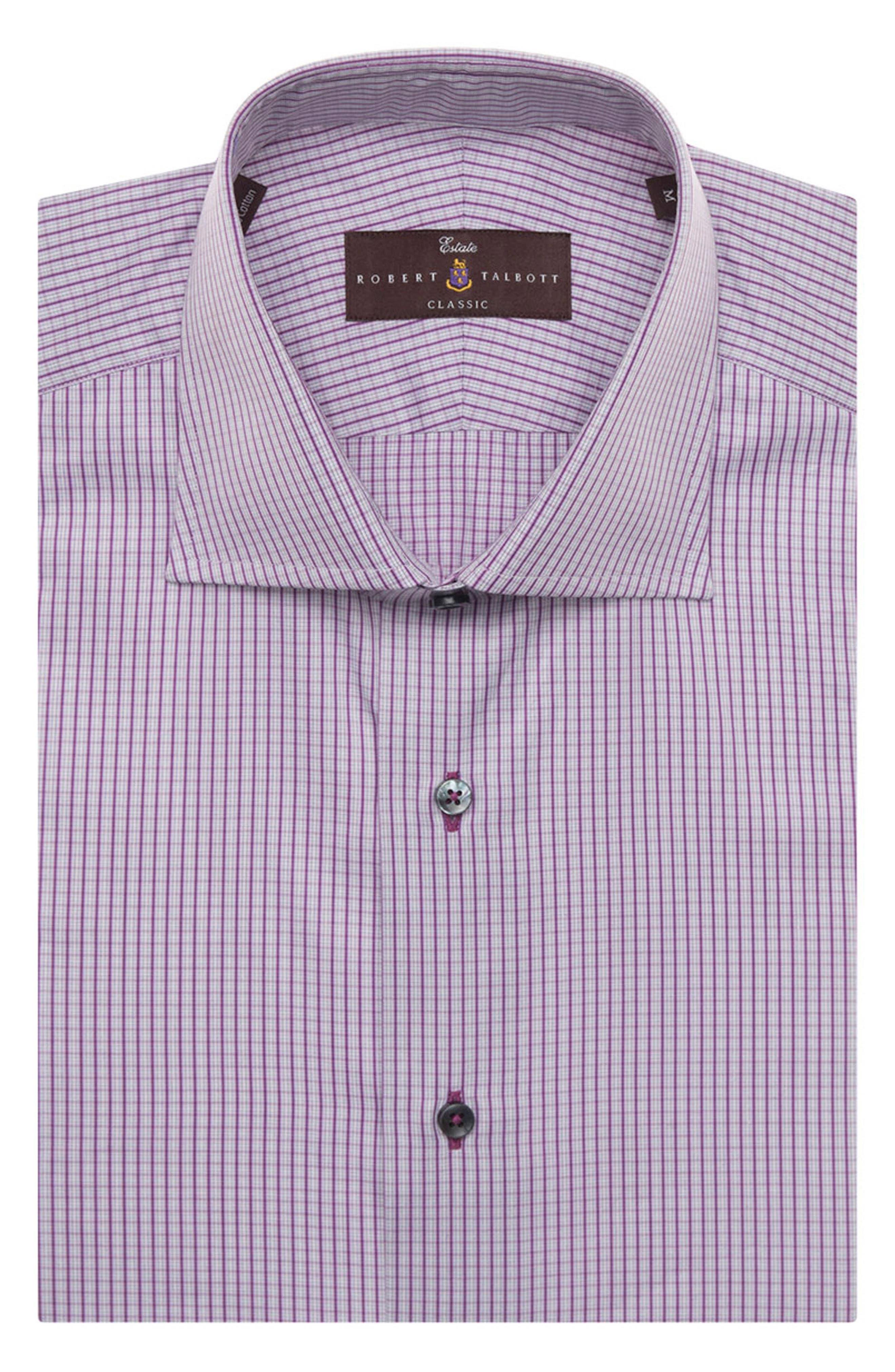 Tailored Fit Check Dress Shirt,                             Main thumbnail 1, color,                             ASTER