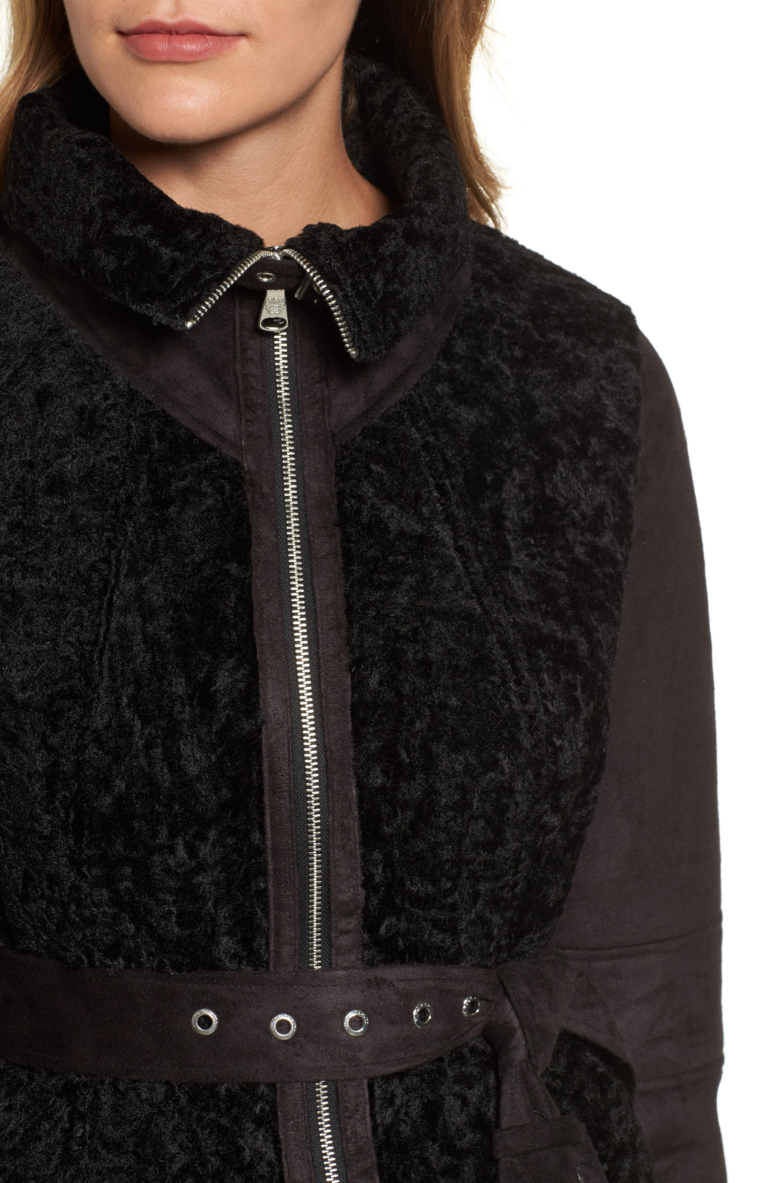 Faux Shearling Coat,                             Alternate thumbnail 4, color,                             001