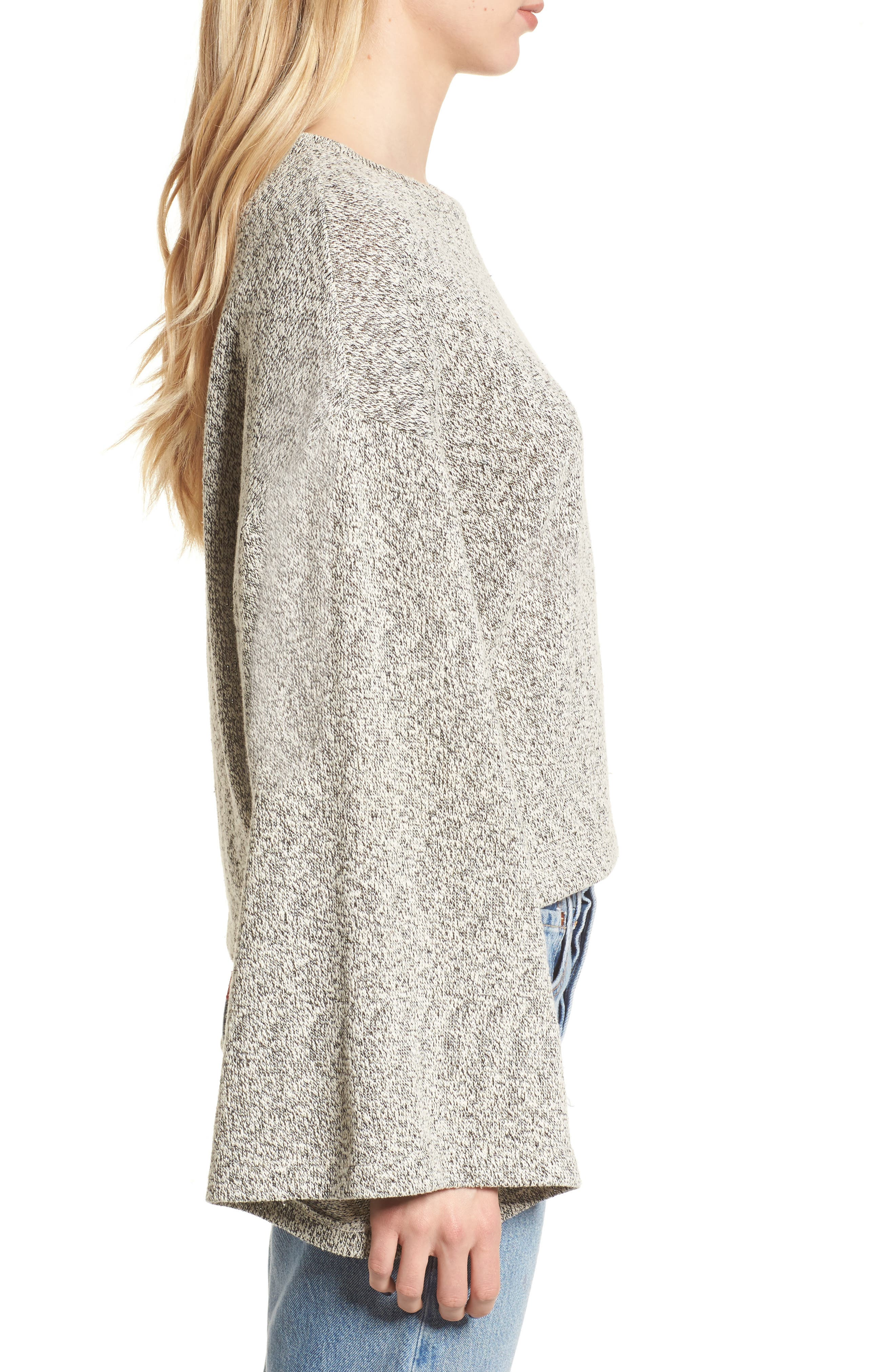 Marled Bell Sleeve Sweater,                             Alternate thumbnail 3, color,                             020