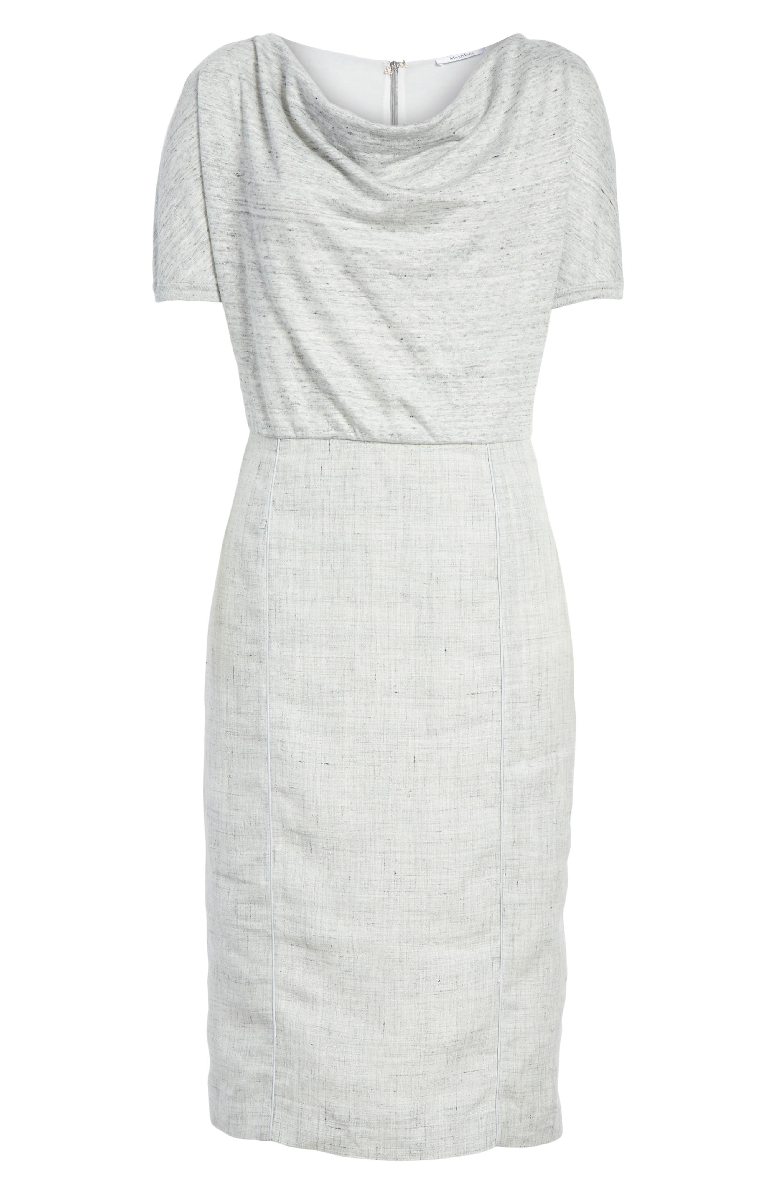 Laura Cowl Neck Linen Dress,                             Alternate thumbnail 6, color,                             054