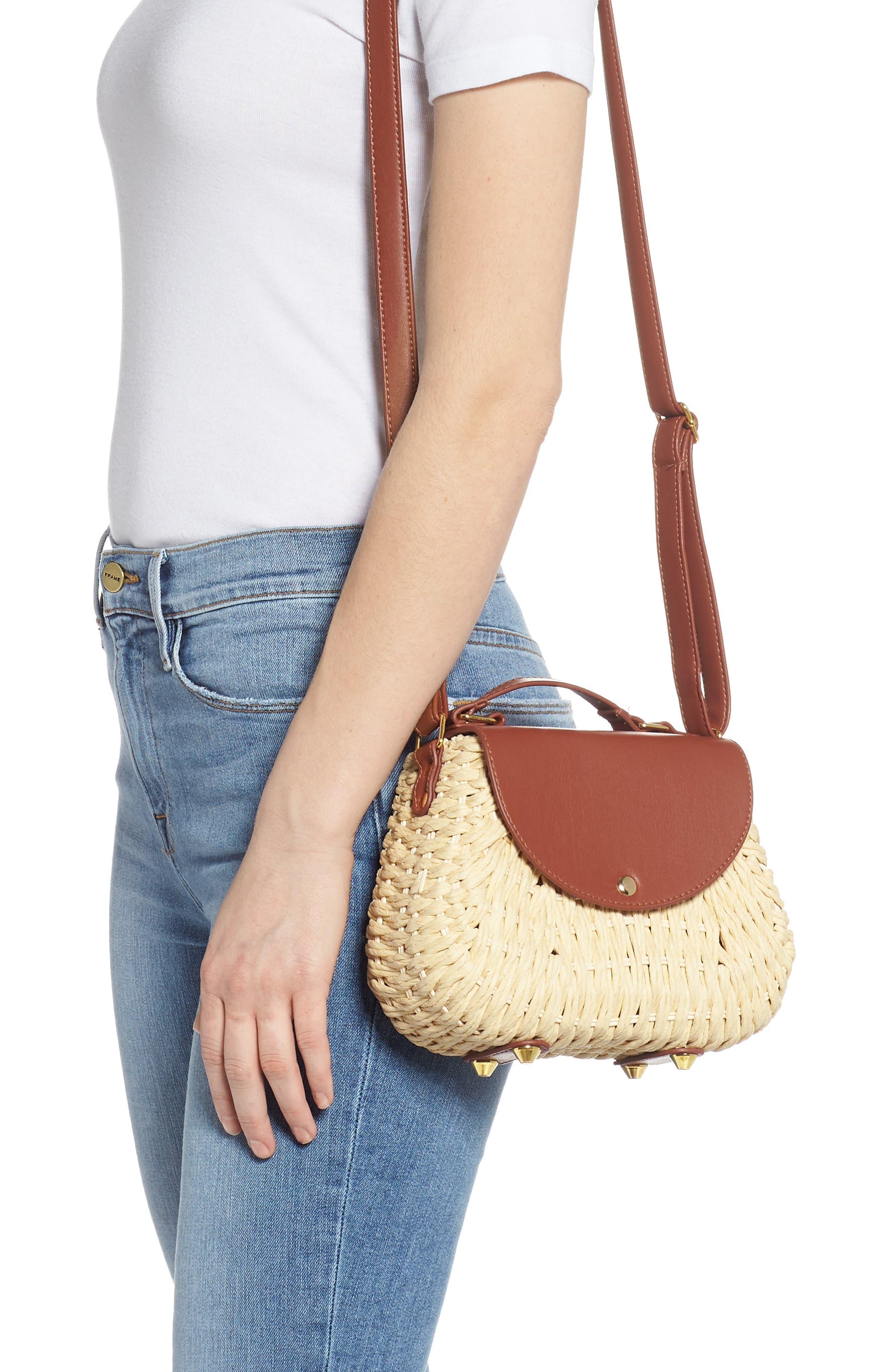 Faux Leather Trim Straw Saddle Bag,                             Alternate thumbnail 2, color,                             NATURAL/ COGNAC