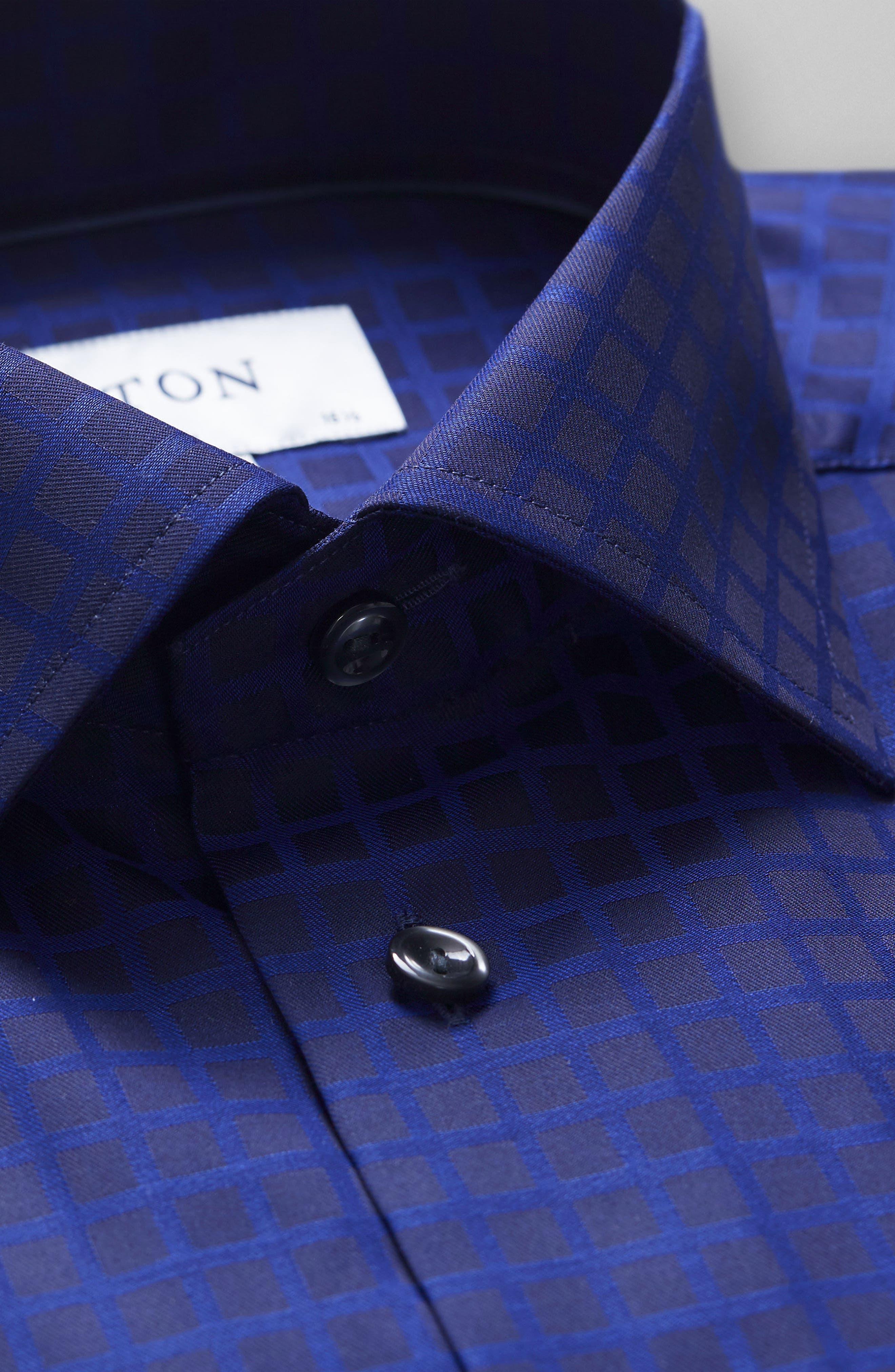 Slim Fit Check Dress Shirt,                             Alternate thumbnail 4, color,                             400