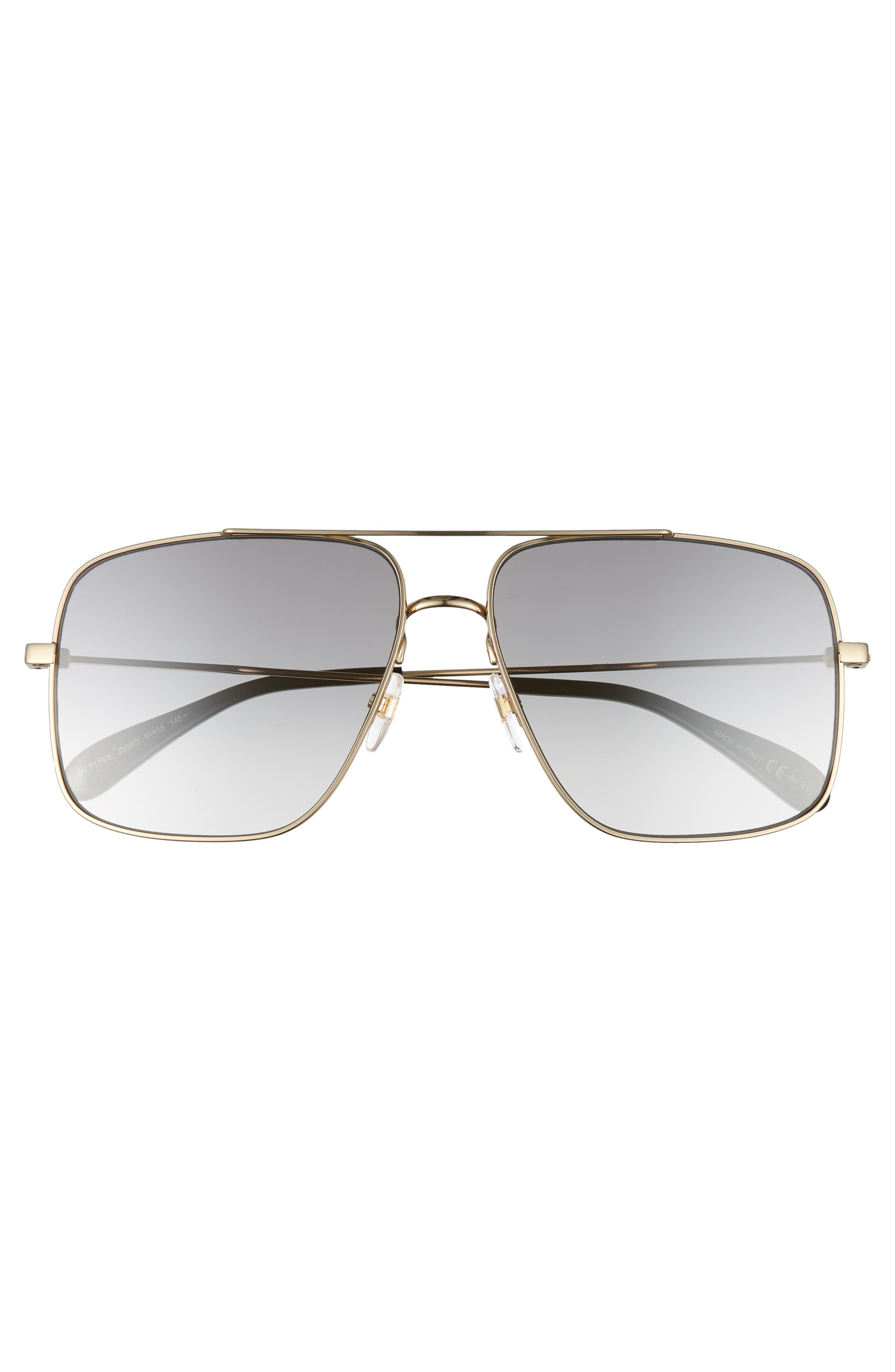 61mm Navigator Sunglasses,                             Alternate thumbnail 3, color,                             GOLD/ GREY