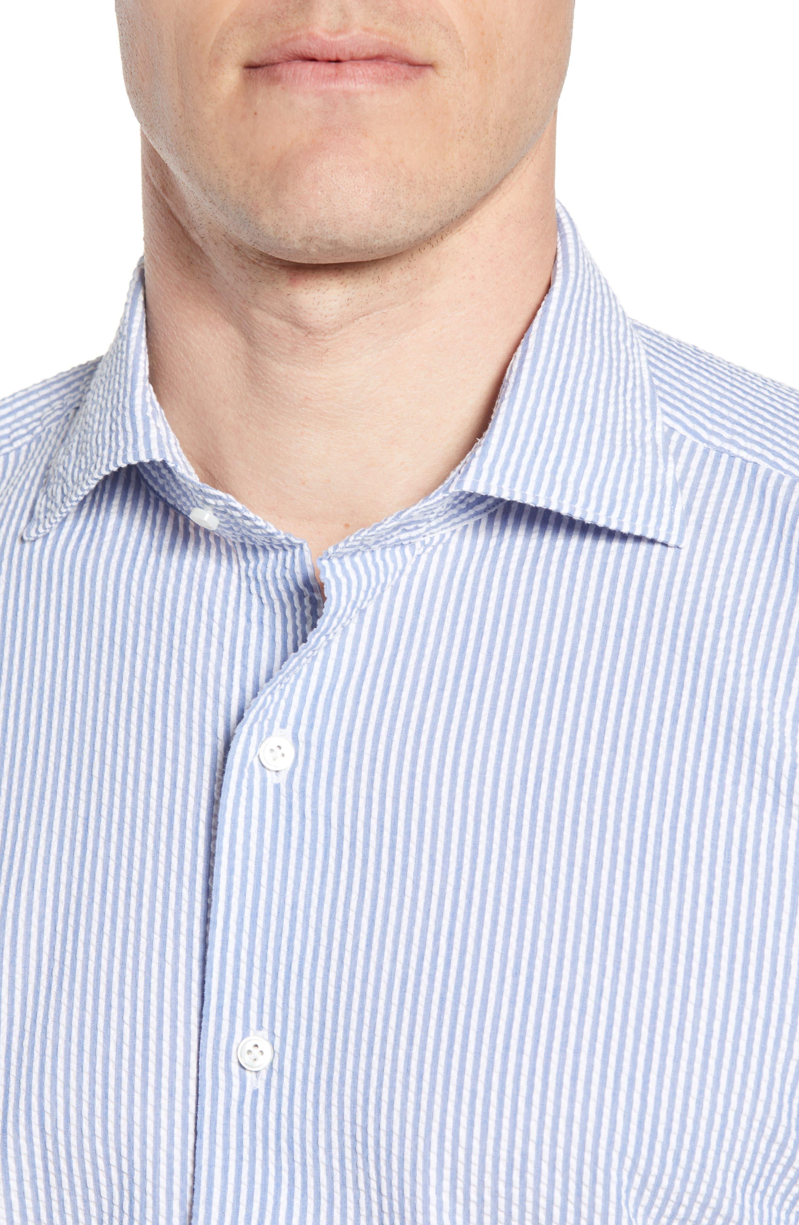 Summertime Stripe Seersucker Sport Shirt,                             Alternate thumbnail 4, color,                             BLUE CEILLO